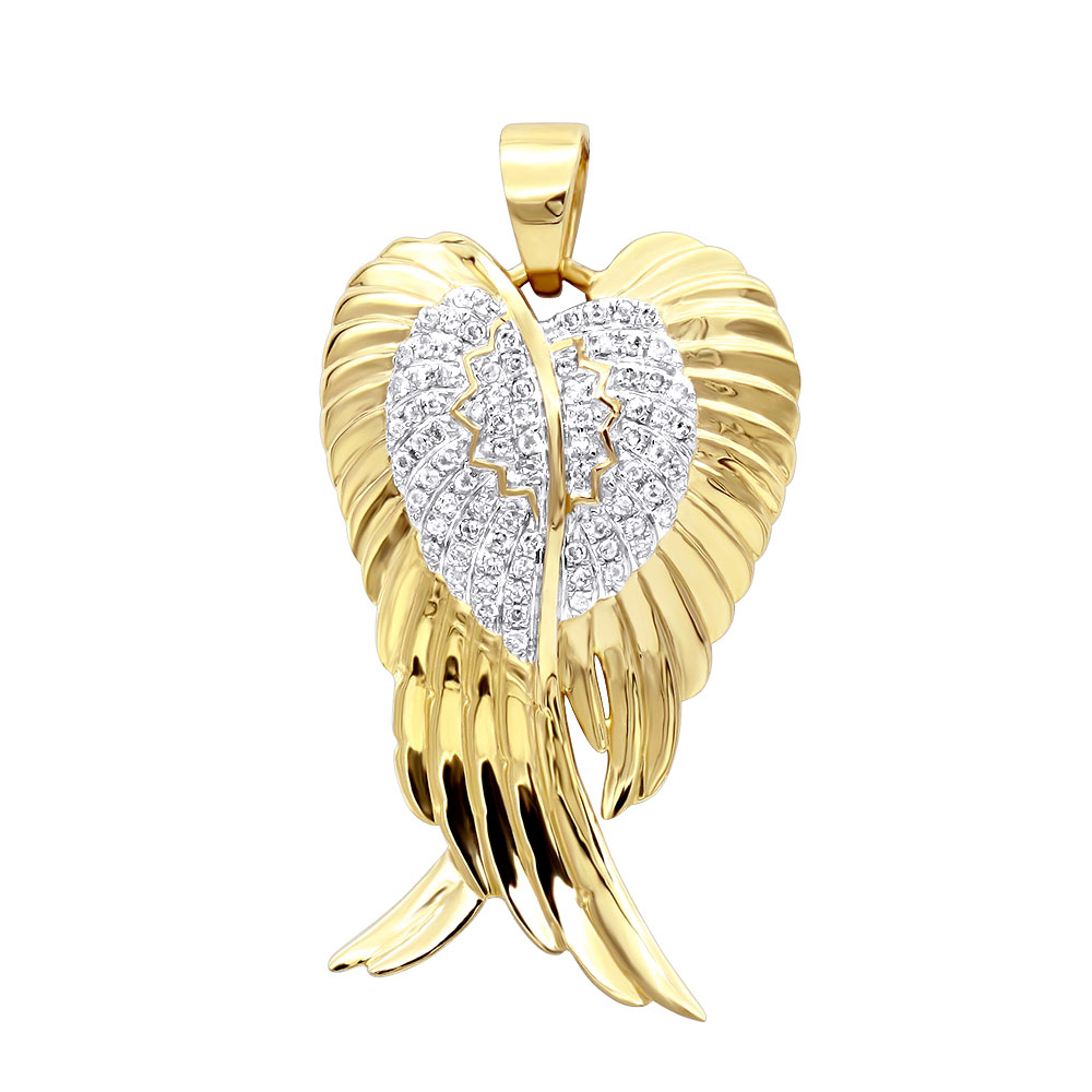 Solid 10K Gold Real Diamond Angel Wings Pendant Necklace 0.35Ct Within Most Current Angel Wing Pendant Necklaces (Gallery 5 of 25)