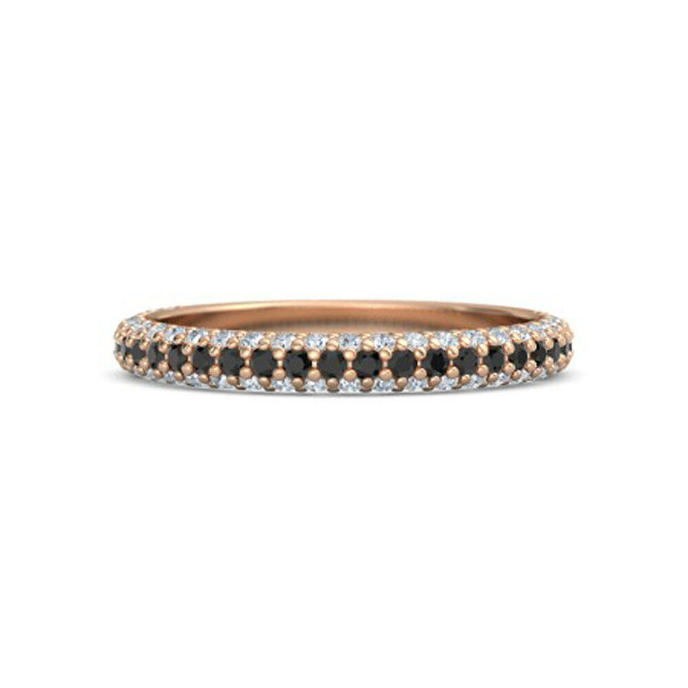 Solid 14K Rose Gold Band Natural Onyx 0.67Ct Diamond Anniversary Eternity  Bands | Ebay With Current Diamond Anniversary Bands In Rose Gold (Gallery 11 of 25)