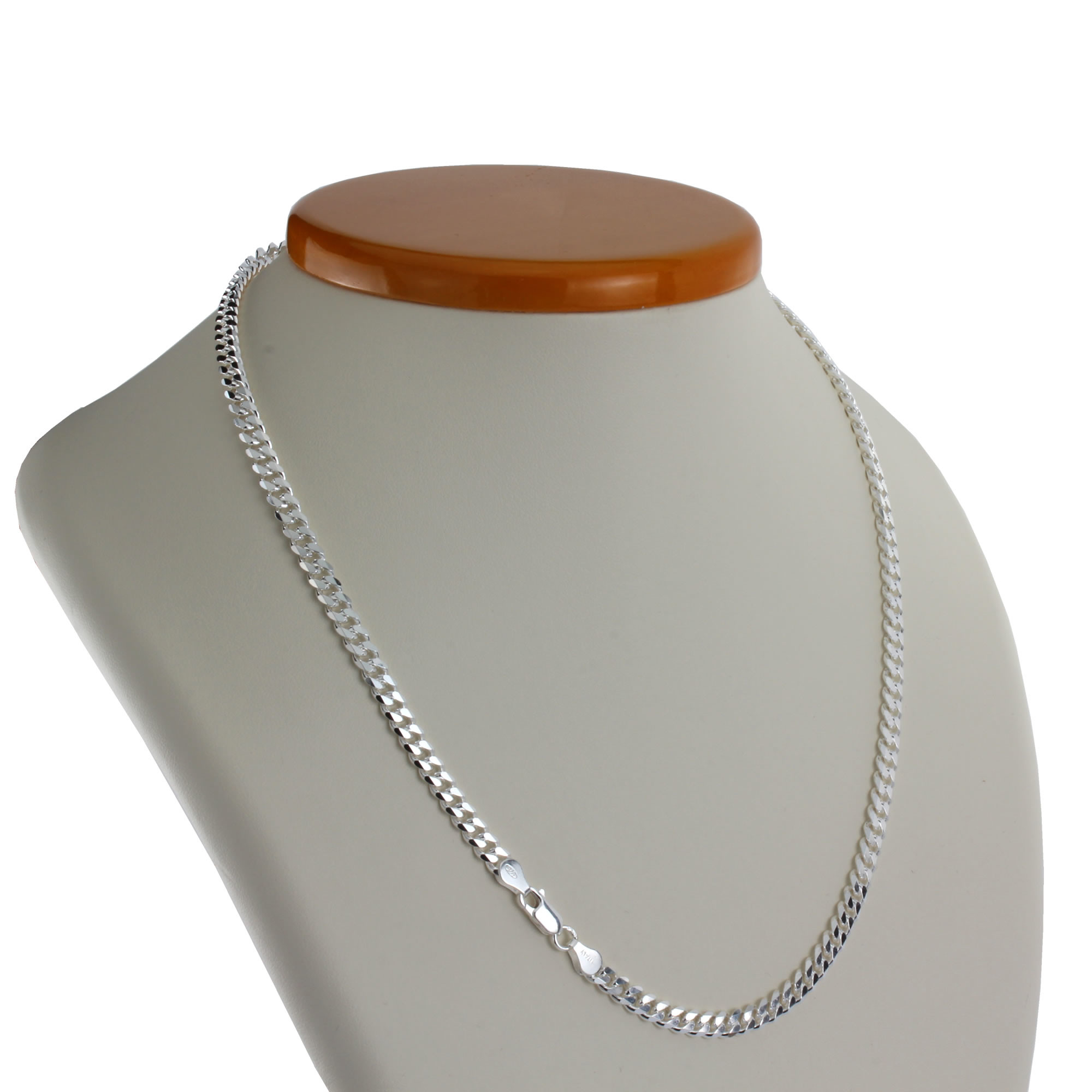 Solid Sterling Silver 5.30Mm Width Curb Chain Pertaining To Recent Curb Chain Necklaces (Gallery 15 of 25)