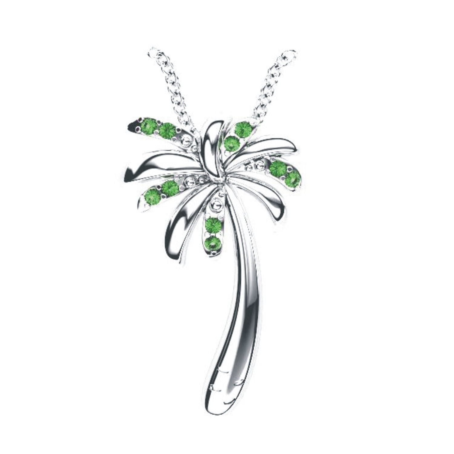 Solid Sterling Silver Tropical Palm Tree Necklace In Green Garnet For Most Up To Date Tropical Palm Pendant Necklaces (Gallery 20 of 25)