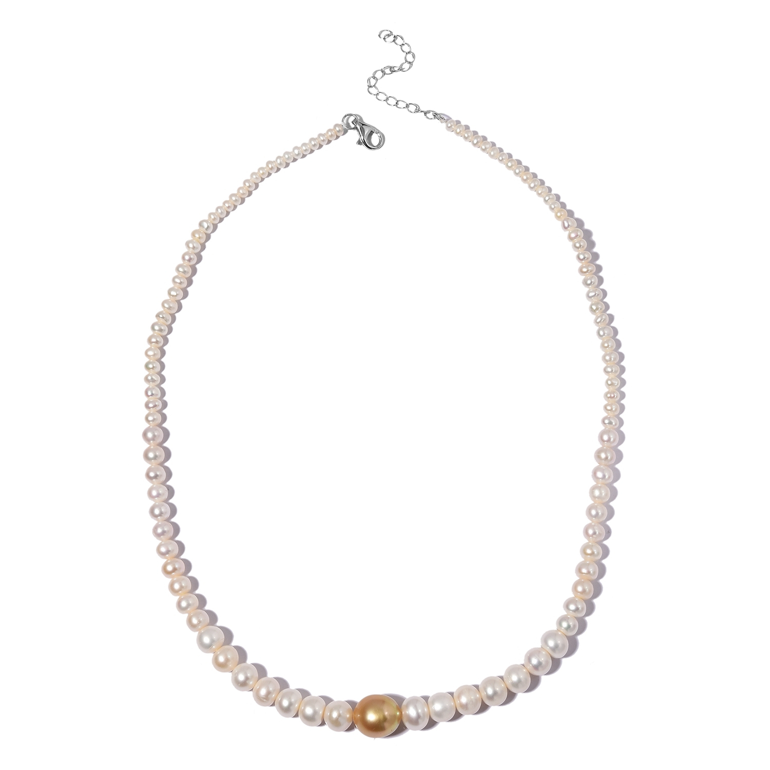 South Sea Golden Cultured Pearl (11 13 Mm), Freshwater White Pearl Sterling  Silver Beads Necklace (18 20 In) Inside Most Current Freshwater Cultured Pearls & Beads Necklaces (Gallery 14 of 25)