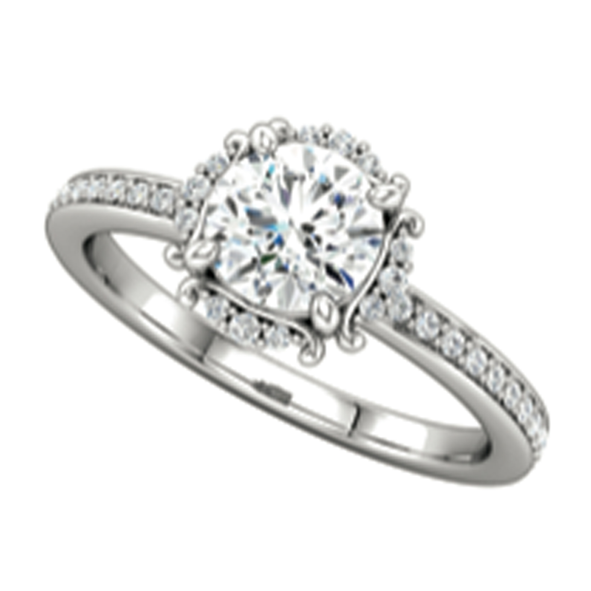 Sparkle Cut Diamonds – Scalloped Halo Engagement Ring | Platinum Regarding Current Sparkling Square Halo Rings (View 20 of 25)