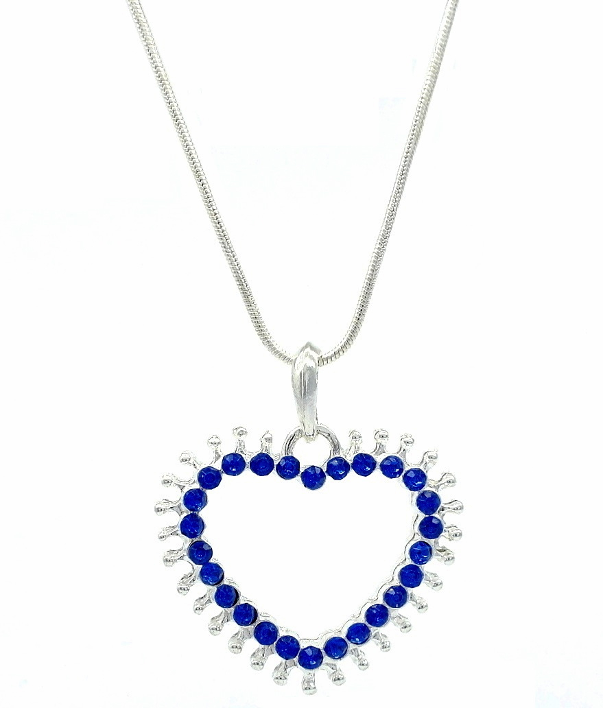 Sparkling Blue Sapphire Swarovski Zirconia Diamante Open Love Heart Shaped Pendant / Fashion Necklace Intended For Most Popular Sparkling Open Heart Necklaces (Gallery 21 of 25)