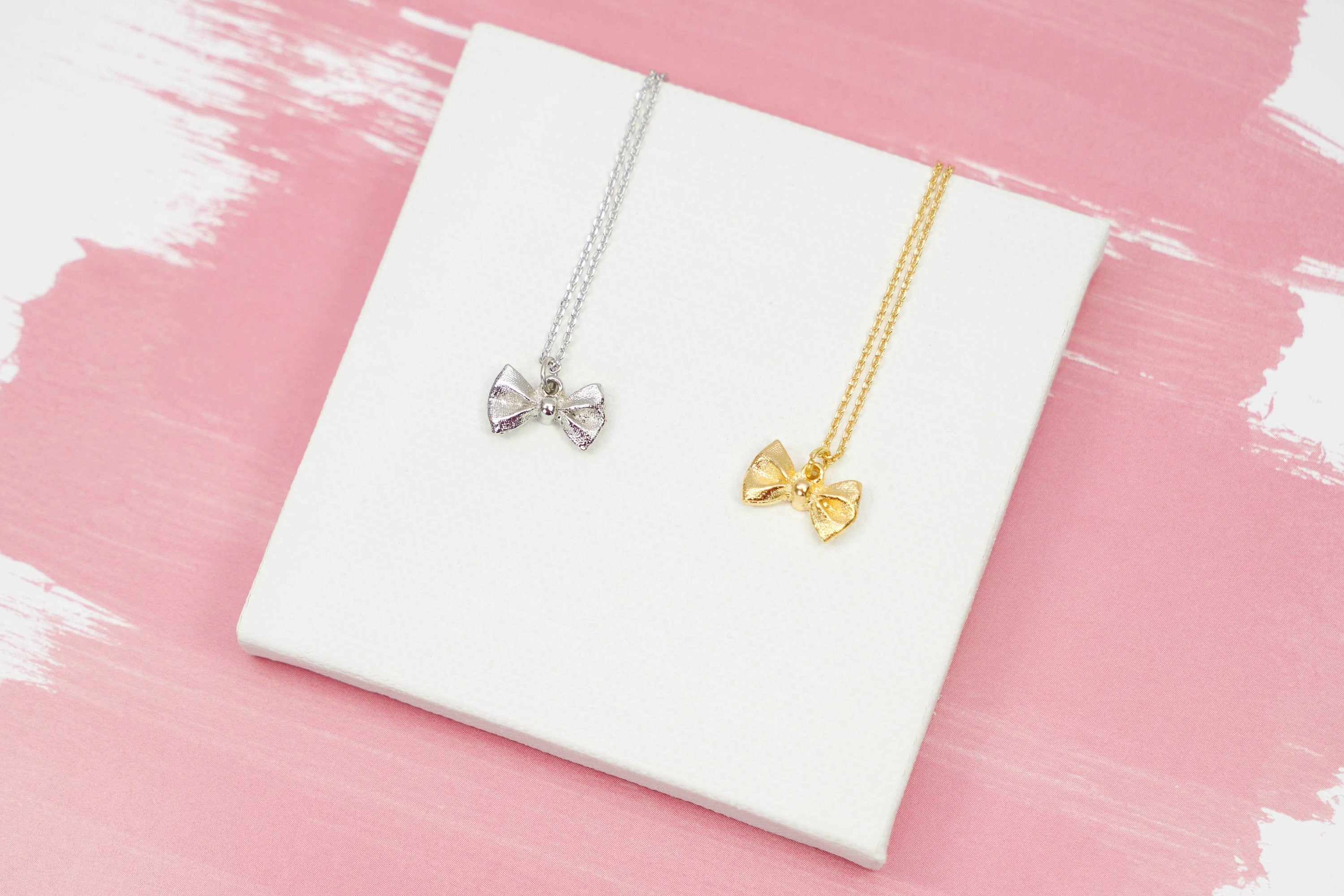 Sparkling Bow Necklace, Dainty Gold Ribbon, Great For Layering, Simple,  Minimalist Regarding 2020 Sparkling Bow Necklaces (View 19 of 25)