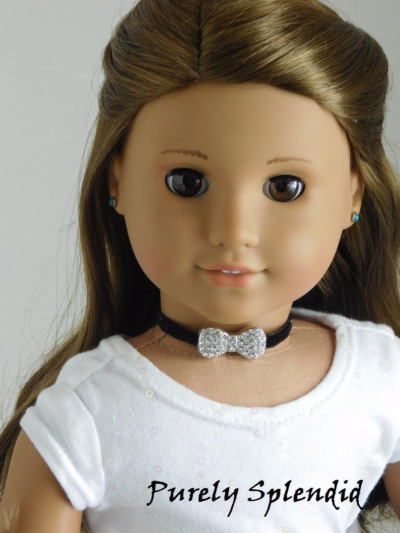 Sparkling Bow Tie Choker Necklace For 18 Inch Girl Dolls, American Made  Fancy Dress Up Jewelry, Evening Accessory, Trendy Doll Jewelry Regarding Latest Sparkling Bow Necklaces (View 23 of 25)