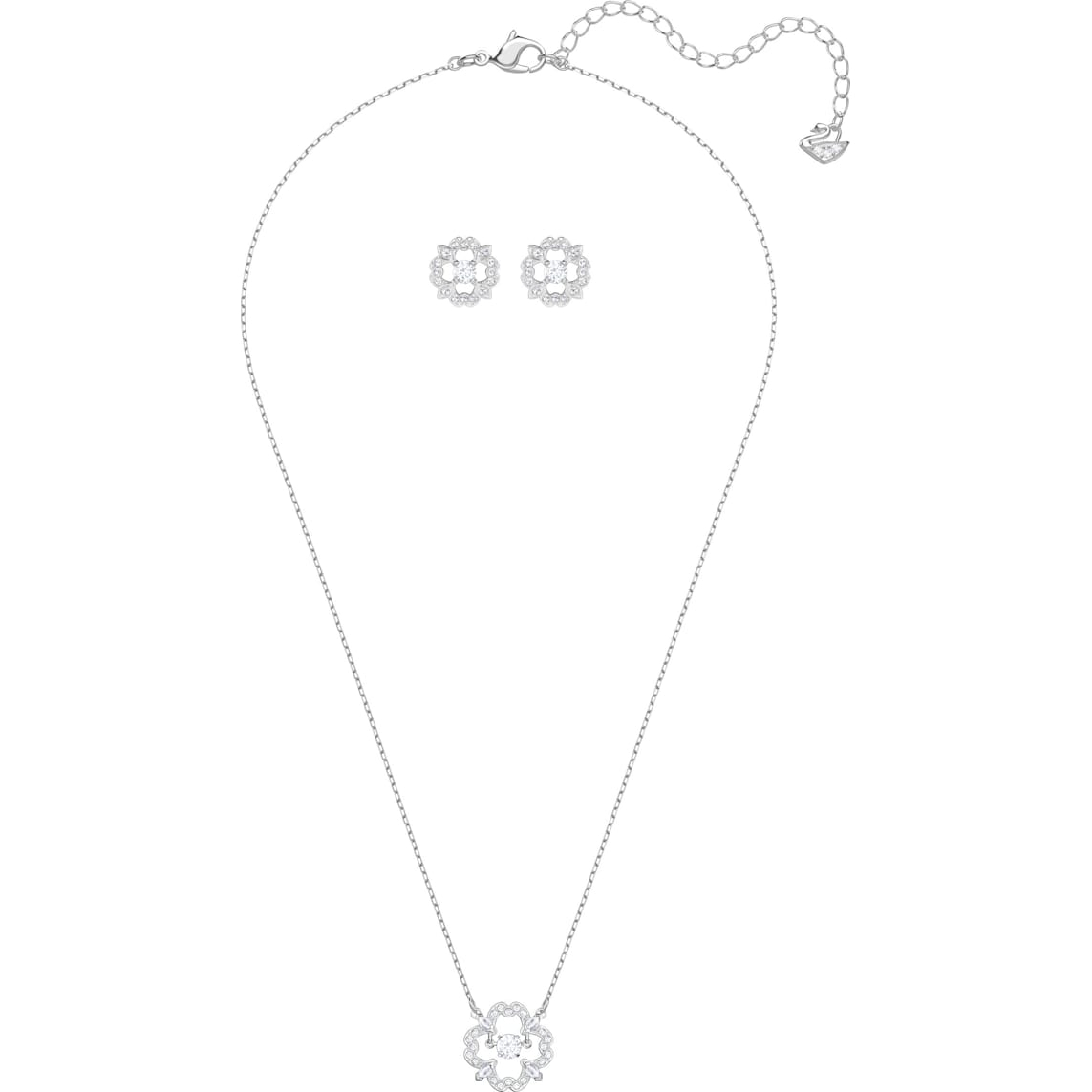 Sparkling Dance Flower Set, White, Rhodium Plated Within Best And Newest Sparkling Daisy Flower Locket Element Necklaces (Gallery 23 of 25)