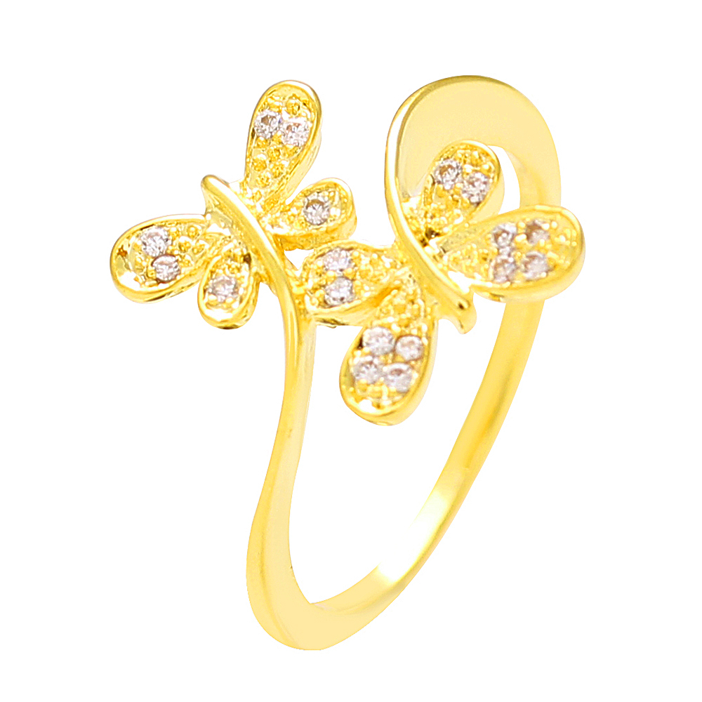 Sparkling Drop 18 K Yellow Gold Plated Twin Butterfly Ring Sdc066r003 Pertaining To Current Sparkling Butterfly Rings (View 15 of 25)