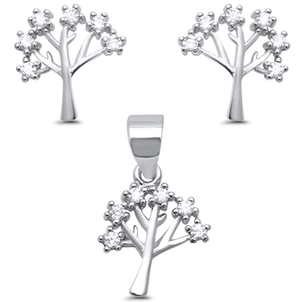 Sparkling Family Tree Of Life Cz .925 Sterling Silver Earring & Pendant Set  Pendant Necklace Set  (View 19 of 25)