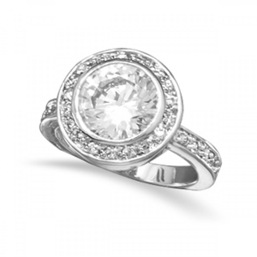 Sparkling Halo Cubic Zirconia Ring Intended For Most Up To Date Sparkling Halo Rings (View 7 of 25)
