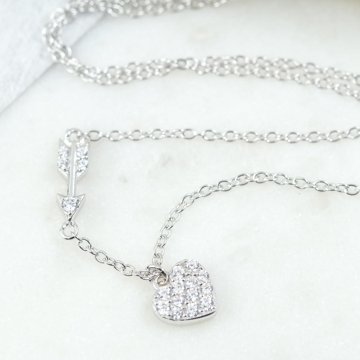 Sparkling Heart & Arrow Necklace – Sugarmango Ltd Pertaining To Latest Sparkling Arrow Necklaces (View 9 of 25)