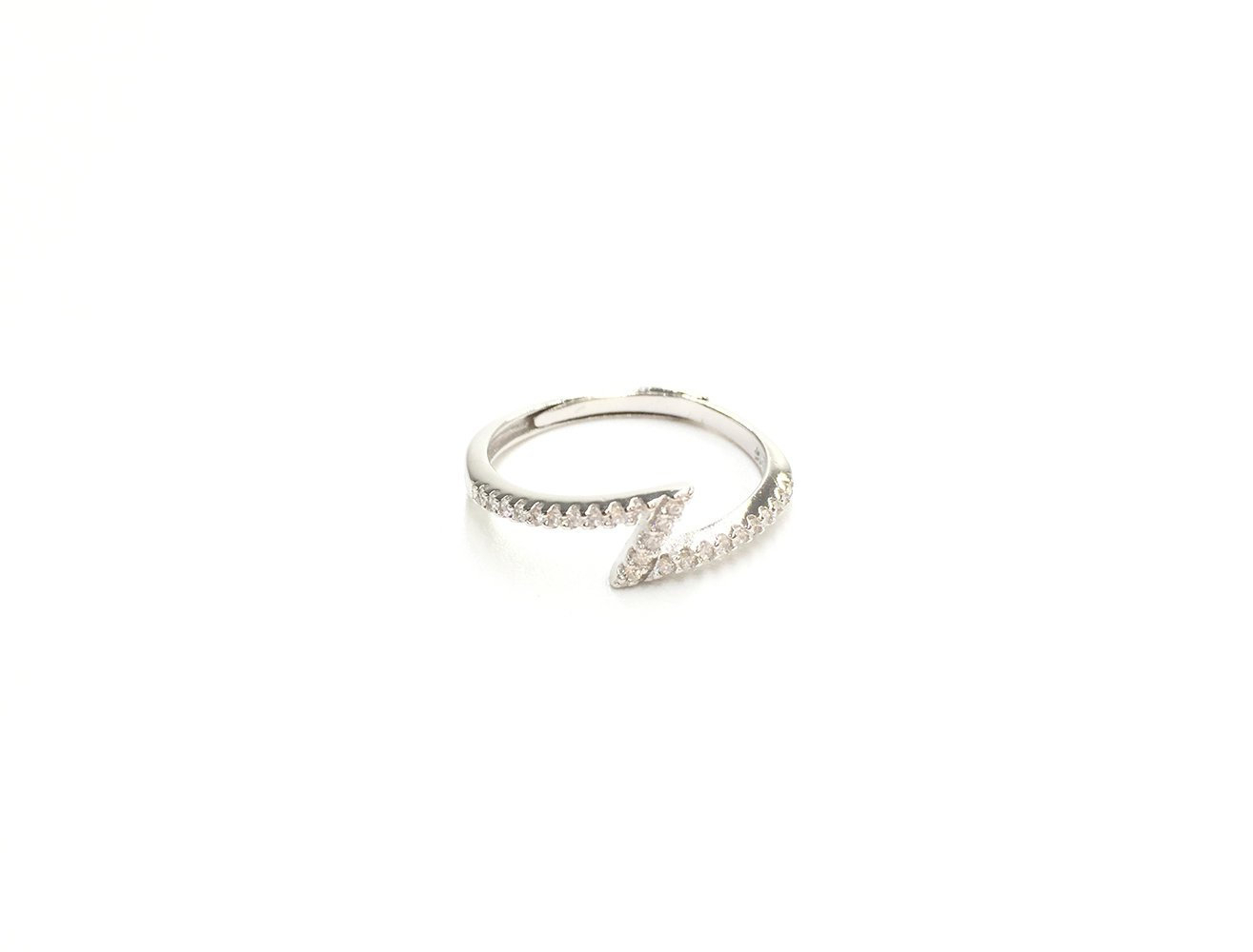 Sparkling Lightning 925 Sterling Silver Ring, Cubic Zirconia Flash  Lightning Open Band Ring,adjustable For Us 6 9 With 2017 Sparkling Butterfly Open Rings (Gallery 12 of 25)