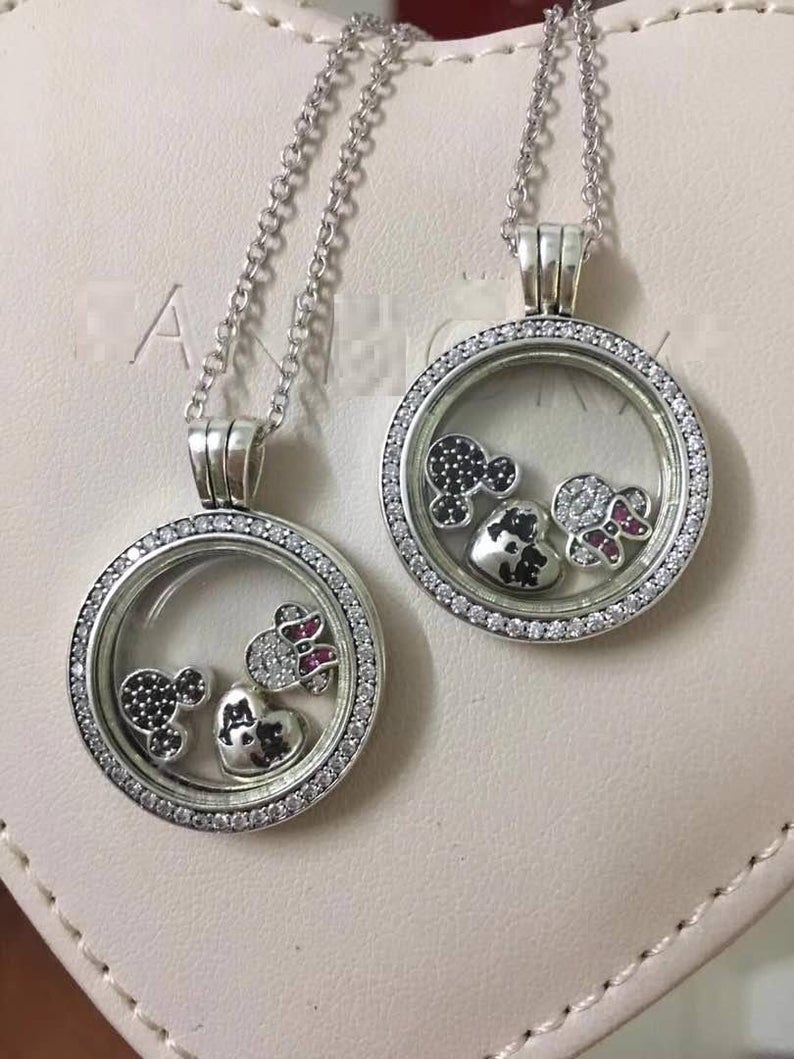 Sparkling Locket Medium With Disney Petites Charms, 100% 925 Sterling  Silver Sapphire Crystal Glass & Clear Cz Fits Pandora Jewelry Diy Inside 2020 Disney Sparkling Mickey Icon Petite Locket Charm Necklaces (View 25 of 25)