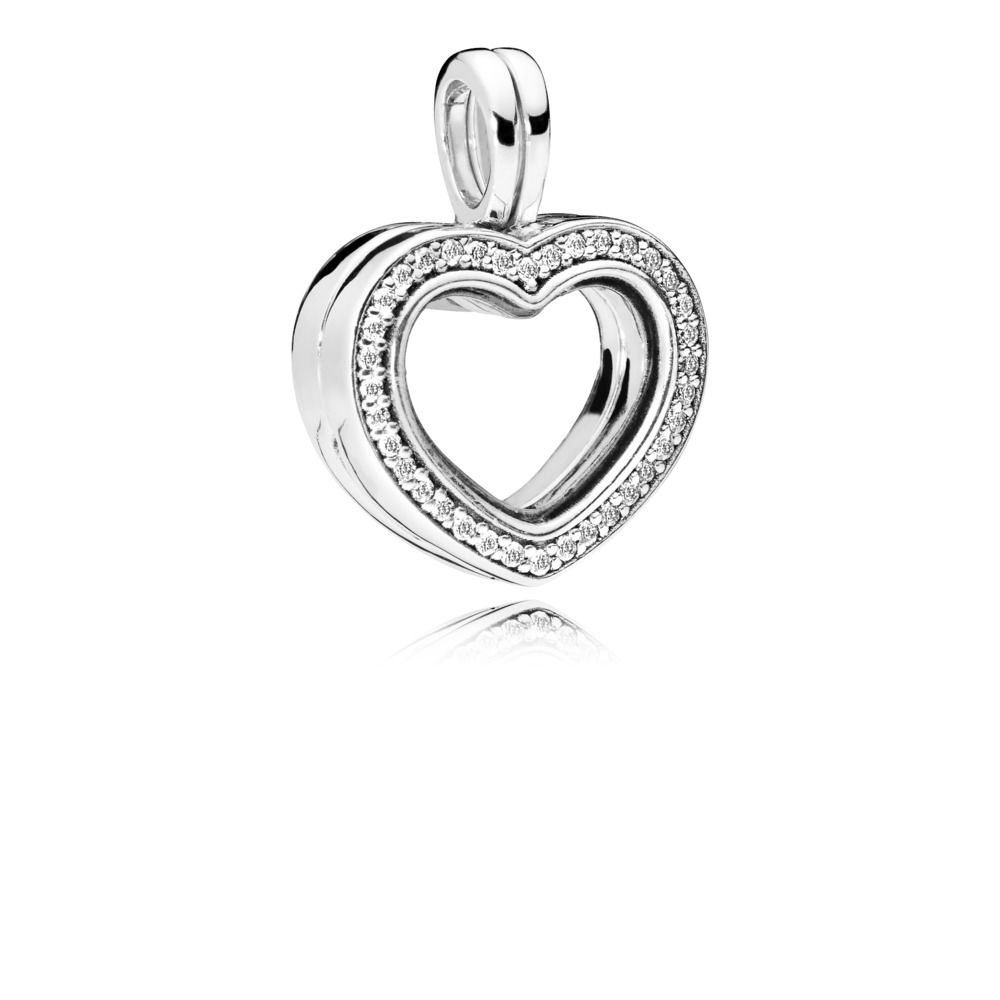 Sparkling Pandora Floating Heart Locket Charm In Most Popular Pandora Lockets Logo Heart Dangle Charm Necklaces (View 21 of 25)