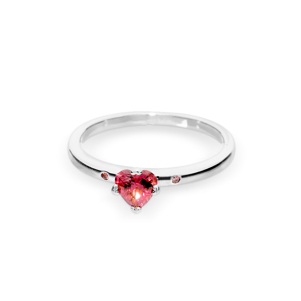 Sparkling Red Heart Ring, Sterling Silver, Multicolour, Cubic Zir Regarding Latest Sparkling Red Heart Rings (View 4 of 25)