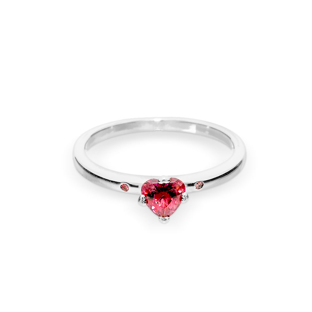 Sparkling Red Heart Ring, Sterling Silver, Multicolour, Cubic Zir With Regard To Most Popular Sparkling Red Heart Rings (View 3 of 25)