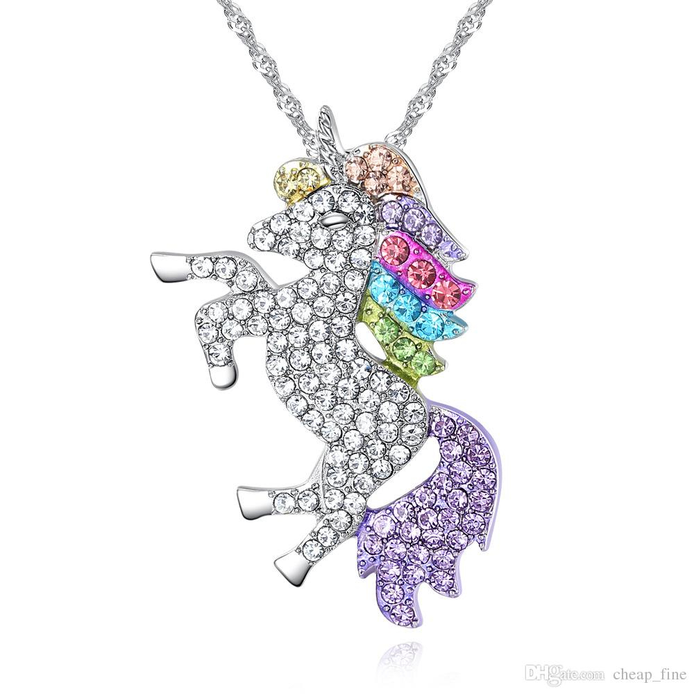 Sparkling Rhine Stone Unicorn Pendant Colorful Coloured Pony Diamond Necklace For Women S Children Lucky Jewelry Children S Gifts Throughout 2019 Sparkling Stones Pendant Necklaces (View 10 of 25)