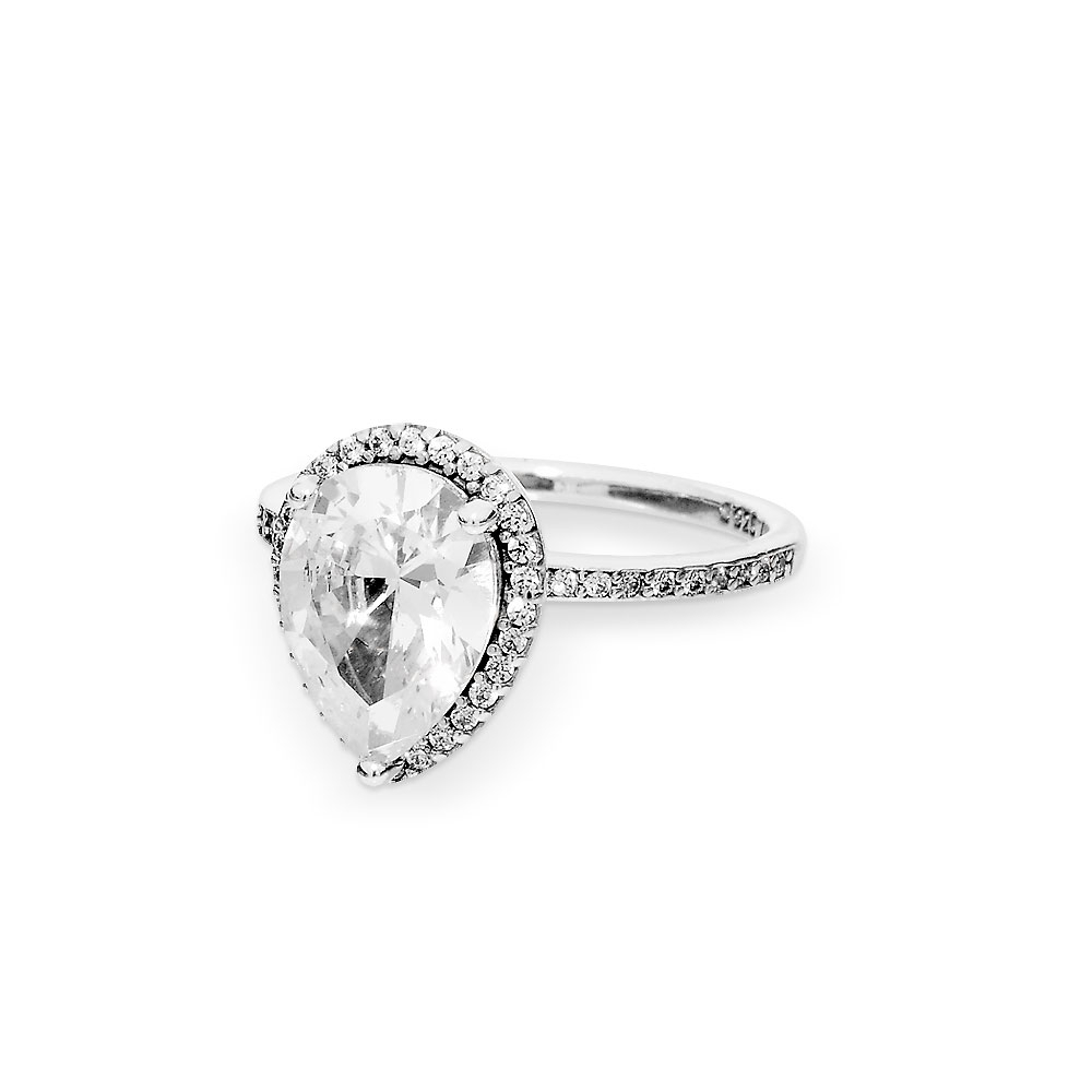 Featured Photo of Sparkling Teardrop Halo Rings