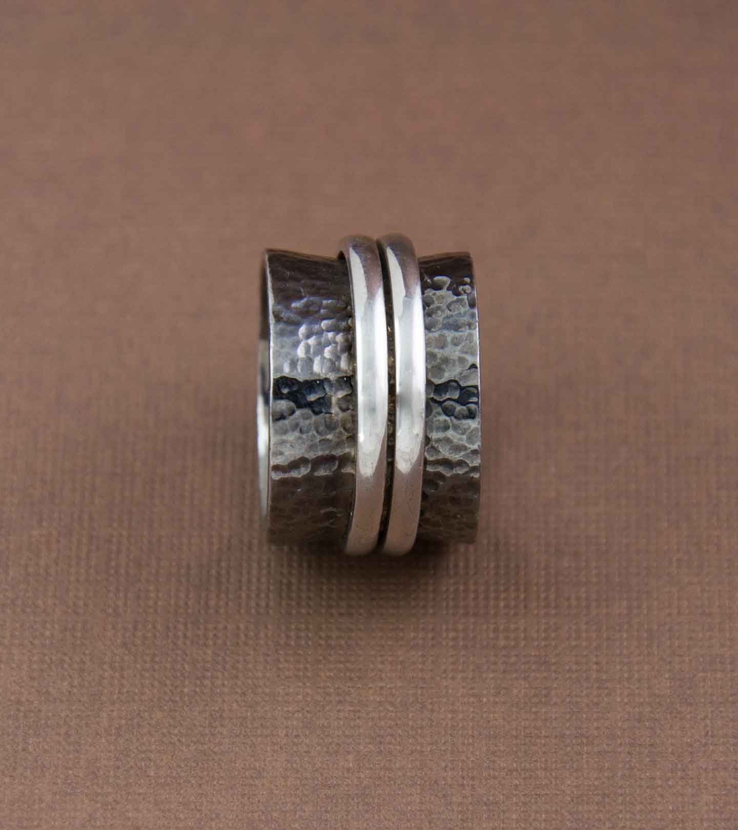 Spinning Duo Ring – Shimmering Ebony With Bands Of Silver Pertaining To Current Shimmering Feather Rings (Gallery 23 of 25)