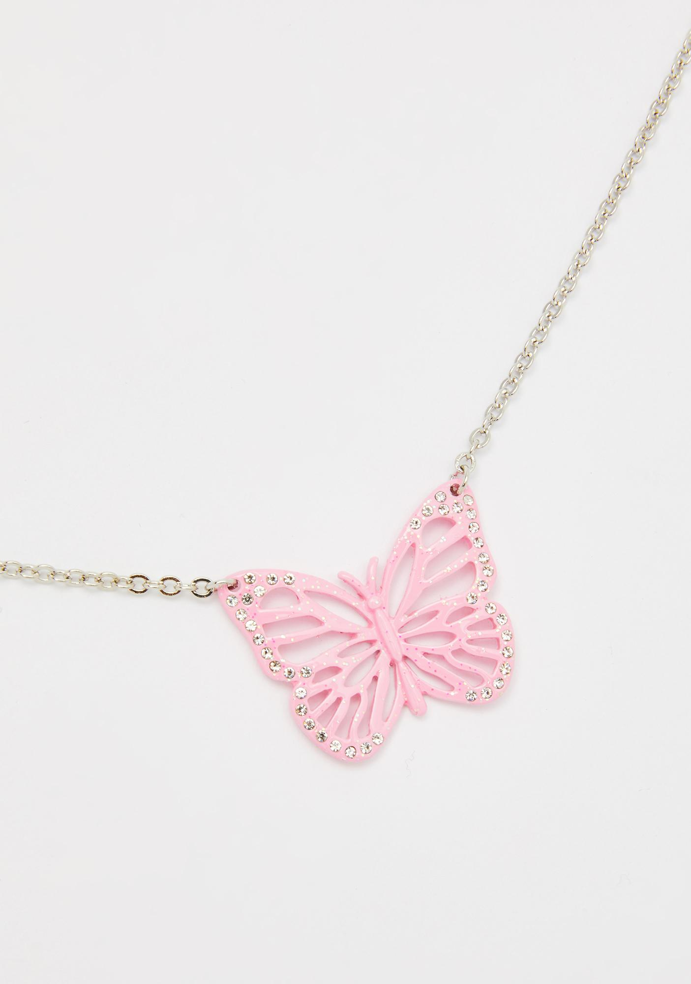 Featured Photo of Pink Butterfly Locket Element Necklaces