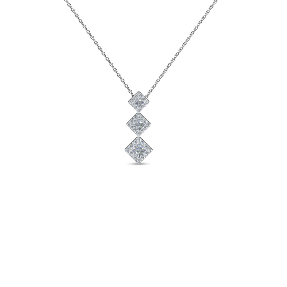 Square Diamond Drop Pendant Necklace In Newest Square Sparkle Halo Pendant Necklaces (View 15 of 25)