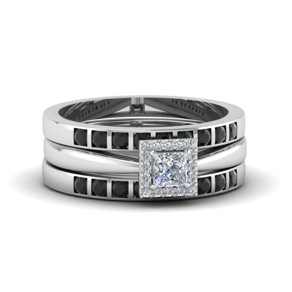 Square Halo Bridal Ring Set For Women Regarding Most Current Certified Princess Cut Diamond Contour Anniversary Bands In White Gold (View 18 of 25)