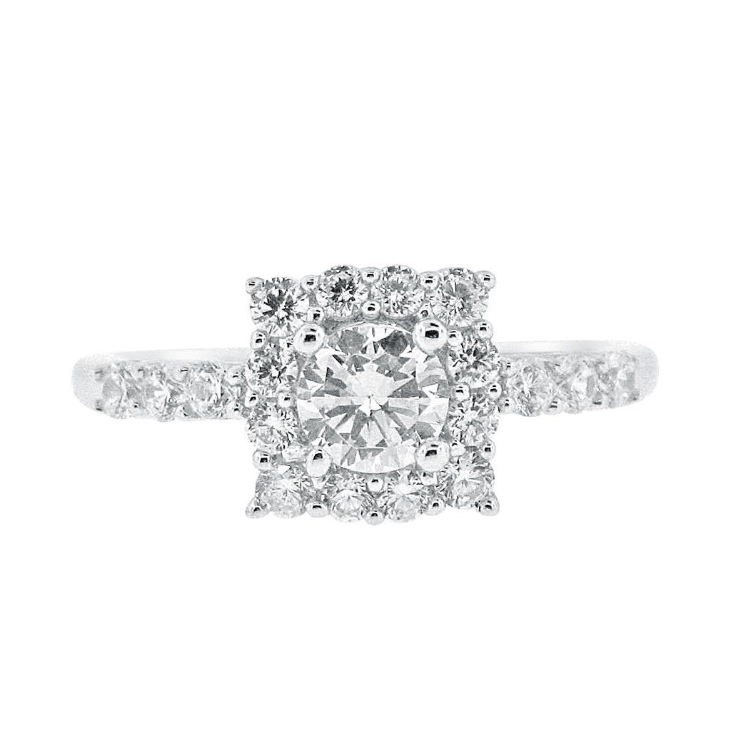 Square Halo With 1/2 Carat Cubic Zirconia Engagement Ring With Most Up To Date Square Sparkle Halo Rings (View 6 of 25)