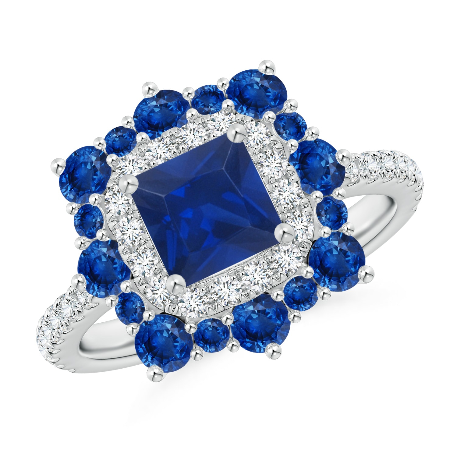Square Sapphire Two Tone Ring With Ornate Double Halo Within Most Current Blue Square Sparkle Halo Rings (Gallery 12 of 25)