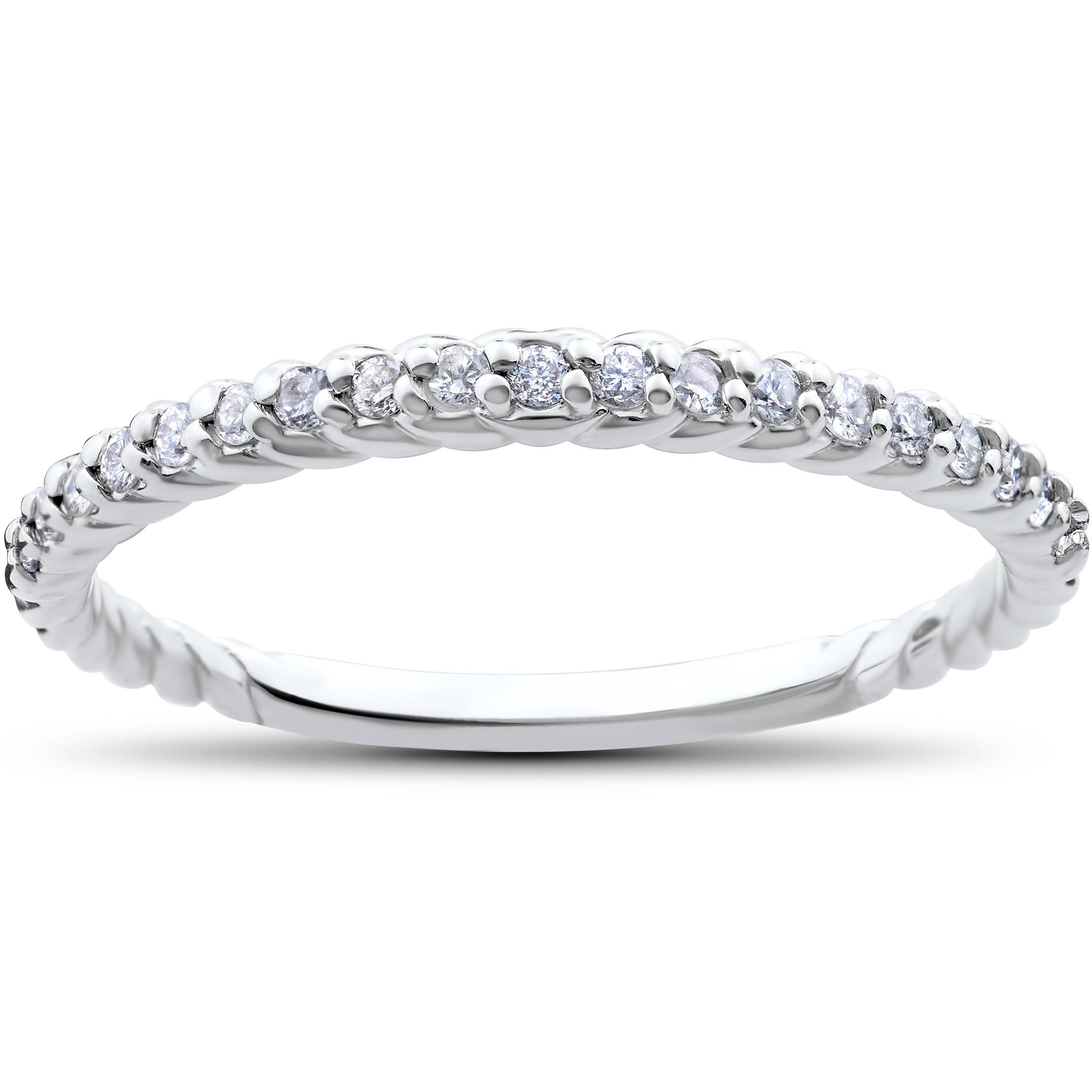 Stackable Diamond Wedding Ring 1/4Ct Braided Anniversary Band 14K White Gold Intended For Most Popular Diamond Braid Anniversary Bands In White Gold (Gallery 3 of 25)
