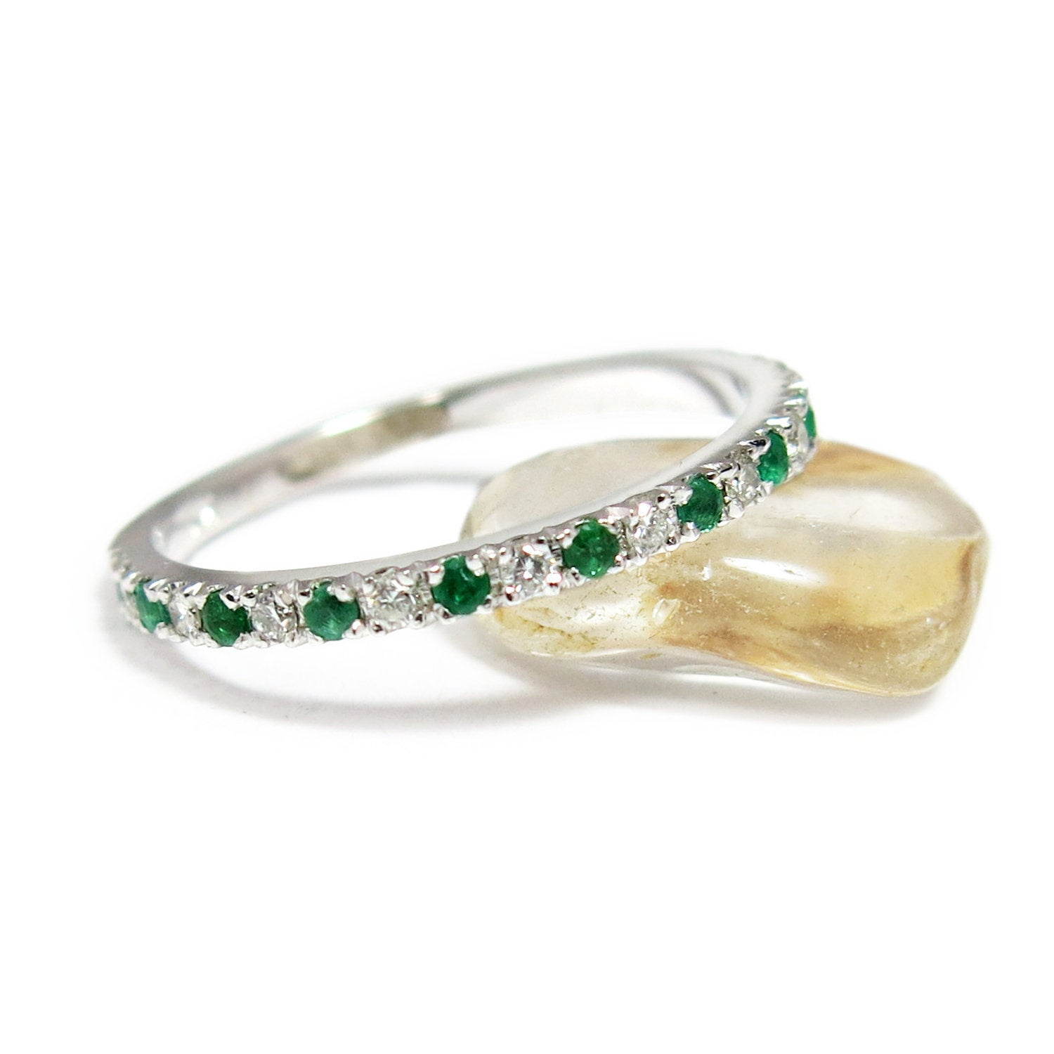 Stackable Gemstone Ring, White Gold Wedding Band, Gold Gemstone Ring,  Promise Ring, Emerald Ring, Gold Eternity Ring, Stackable Emerald Ring In Most Popular Sparkling & Polished Lines Rings (View 24 of 25)