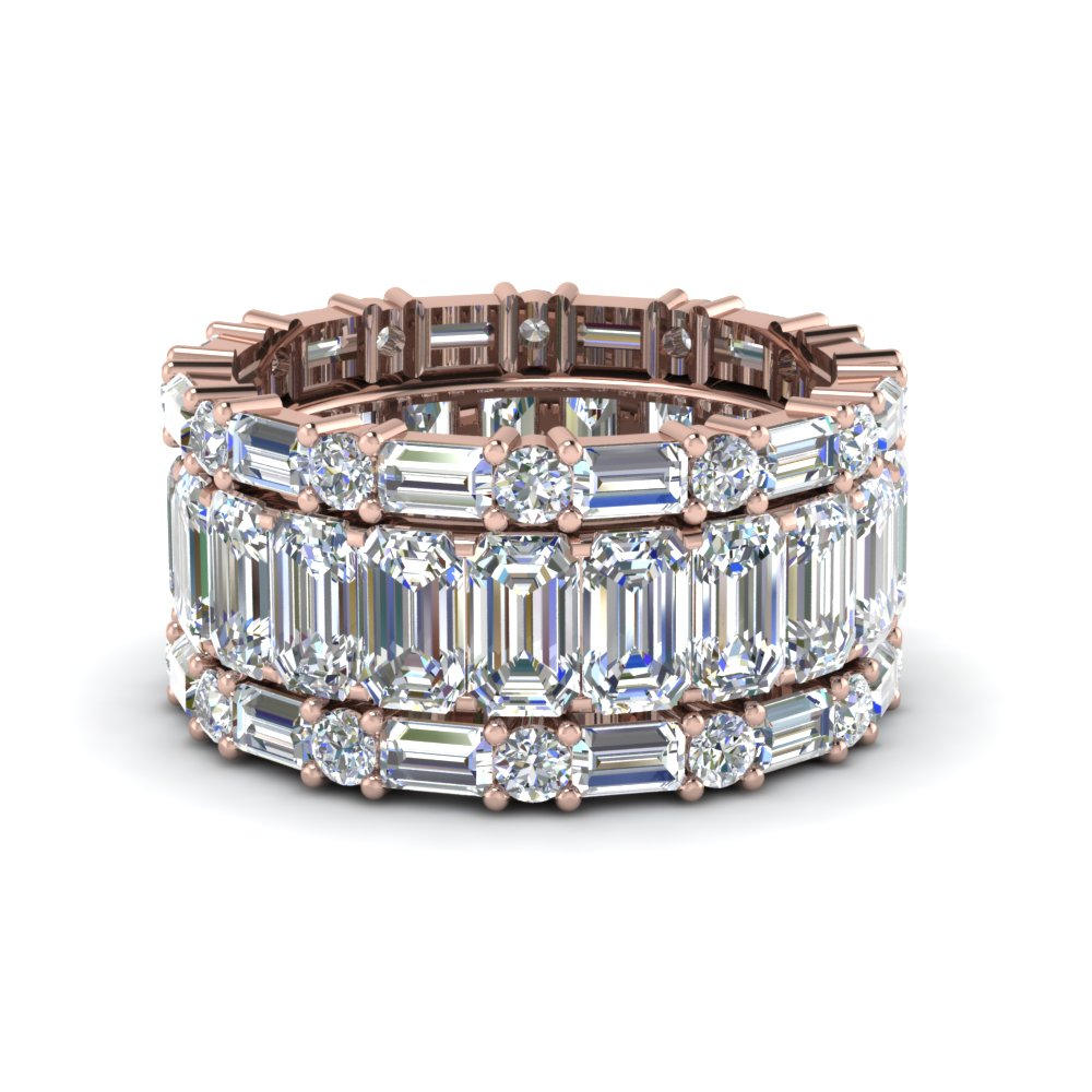 Stackable Rings & Bands With Fancy Diamond And Gemstone With Regard To Recent Diamond Station Anniversary Bands In Rose Gold (View 6 of 25)