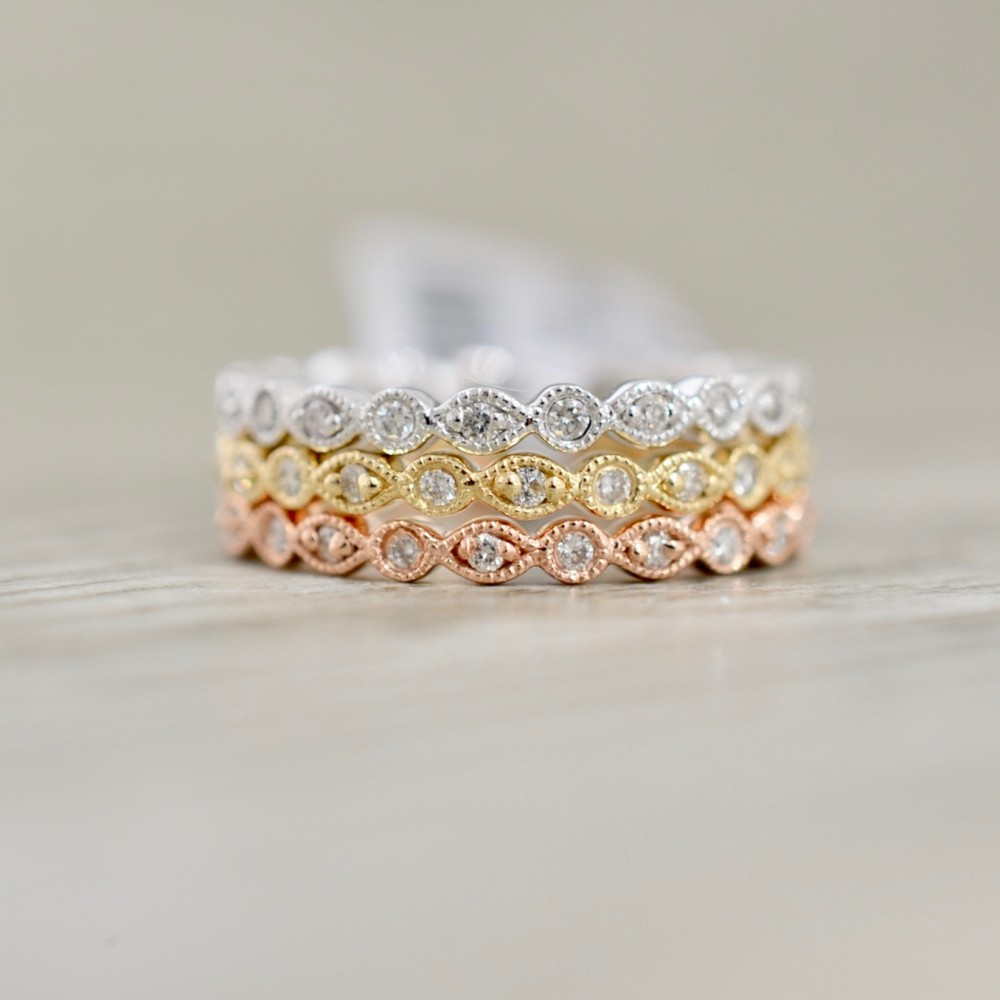 Stackable Set Of Milgrain Bezel Set Diamond Eternity Bands In Yellow Rose & White Pertaining To Most Recently Released Diamond And Milgrain Anniversary Bands In White Gold (View 14 of 25)