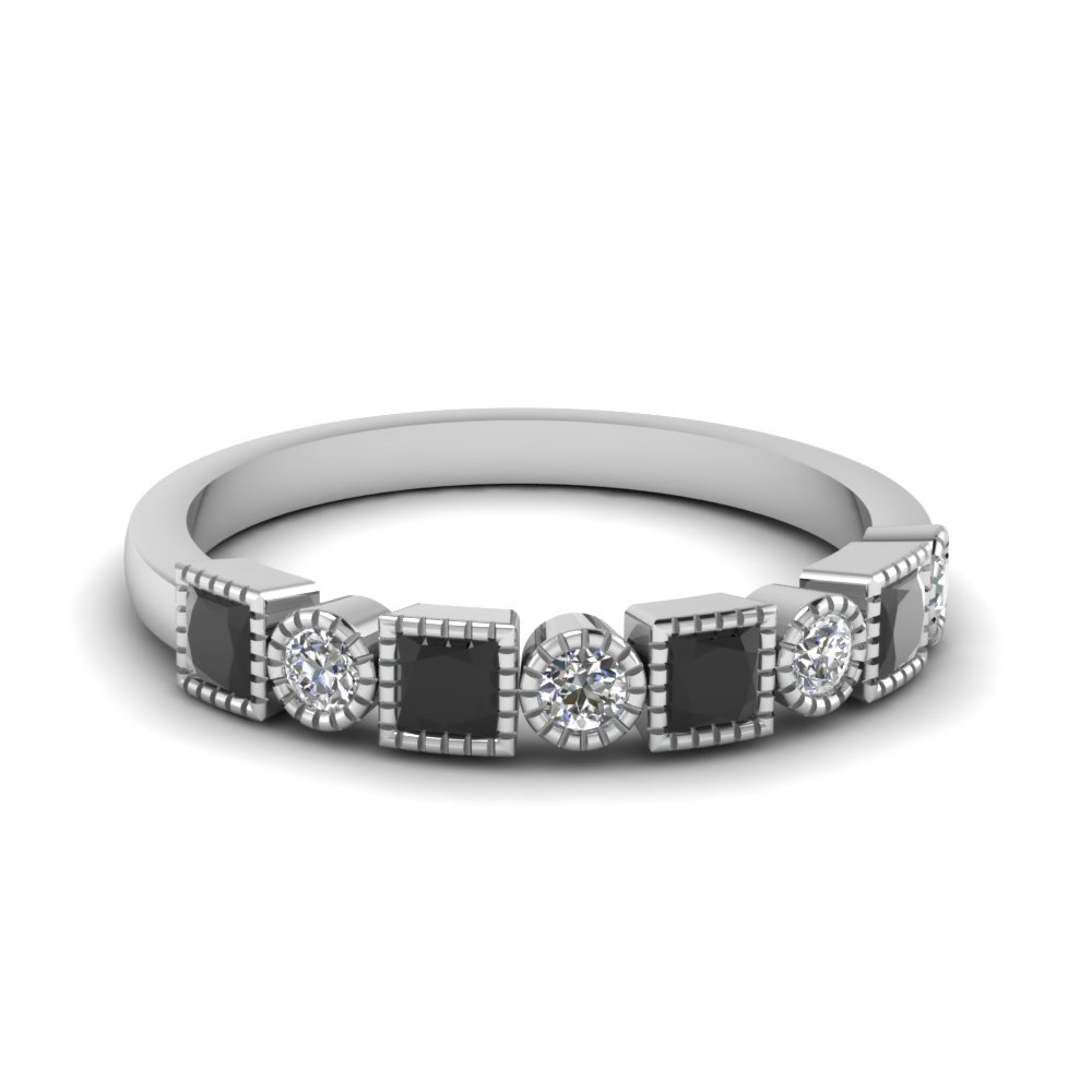 Stackable Wedding Bands With Most Current Princess Cut And Round Diamond Anniversary Bands In White Gold (View 22 of 25)