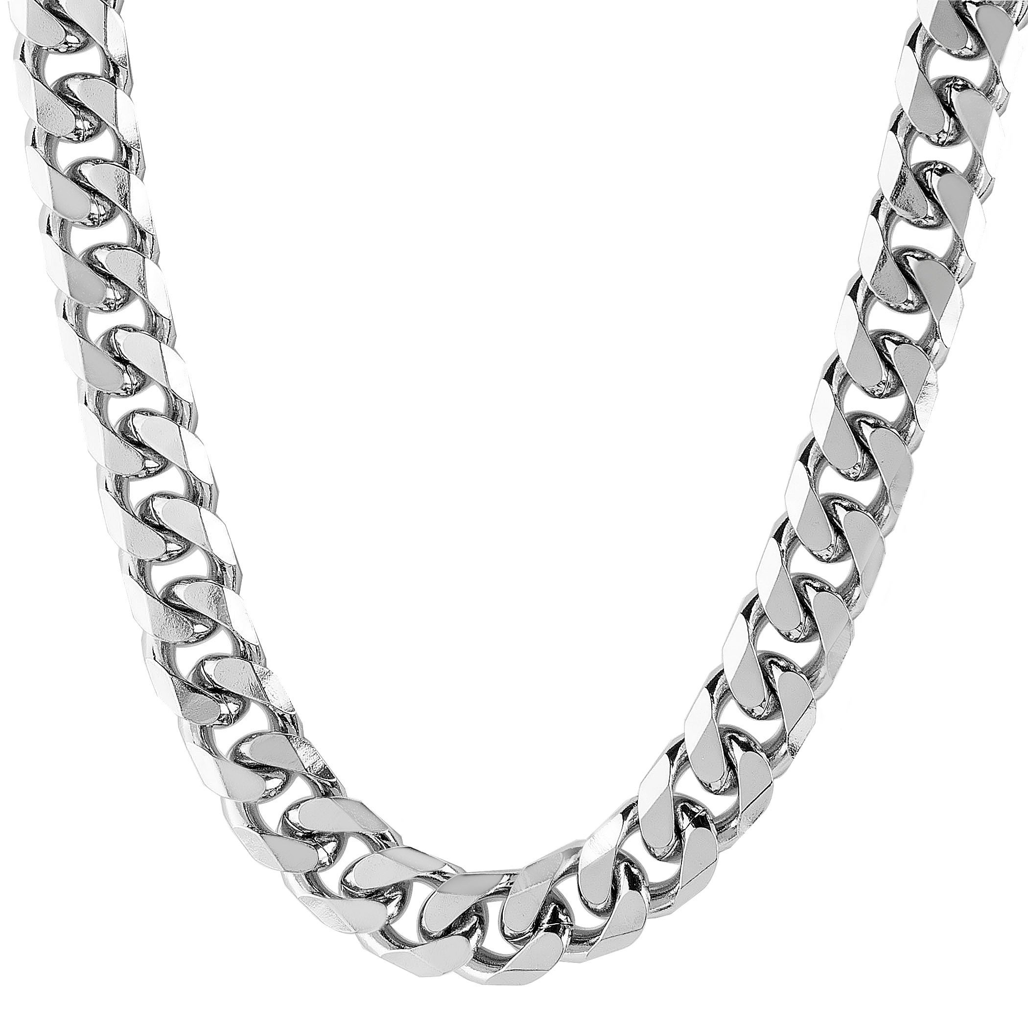 Stainless Steel Beveled Curb Link Chain Necklace (10 Mm) Throughout Recent Curb Chain Necklaces (Gallery 13 of 25)