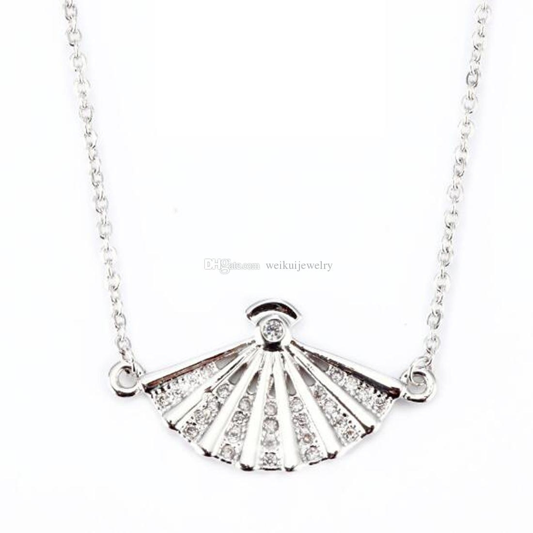 Stainless Steel Creative Fan Pendant Necklace Fashion Wild Crystal Necklace  For Girl /friend / Women Best Gift Pertaining To 2019 Heart Fan Pendant Necklaces (Gallery 1 of 25)