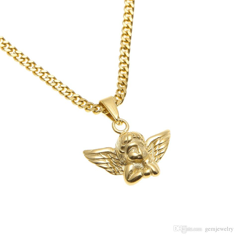 Stainless Steel Gold Angel Wings Pendant Men Women Fashion Jewelry High Quality Hip Hop Angel Boy Pendant Necklace Gift Throughout 2020 Angel Wing Pendant Necklaces (Gallery 11 of 25)