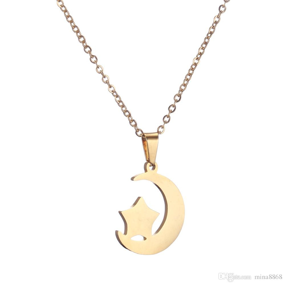 Stainless Steel Moon Star Chain Necklace Fashion Jewelry Silver/gold Color Long Pendant Simple Necklace For Women Girl Bijoux Gift Within Newest Polished Moon & Star Pendant Necklaces (View 16 of 25)
