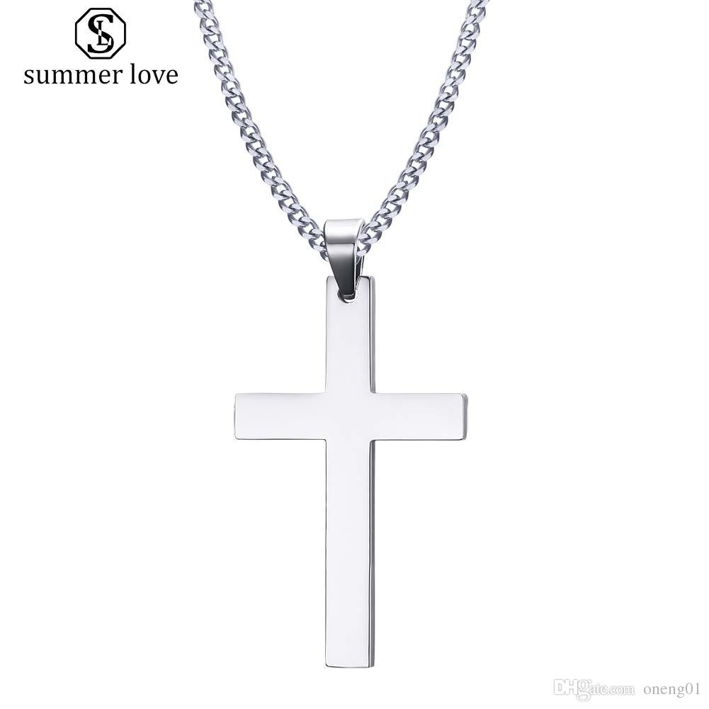 Stainless Steel Simple Cross Pendant Necklace For Women Fashion Silver Gold Plating Christian Pray Jesus Chain Necklace Jewelry Gift In Newest Sparkling Cross Pendant Necklaces (View 6 of 25)