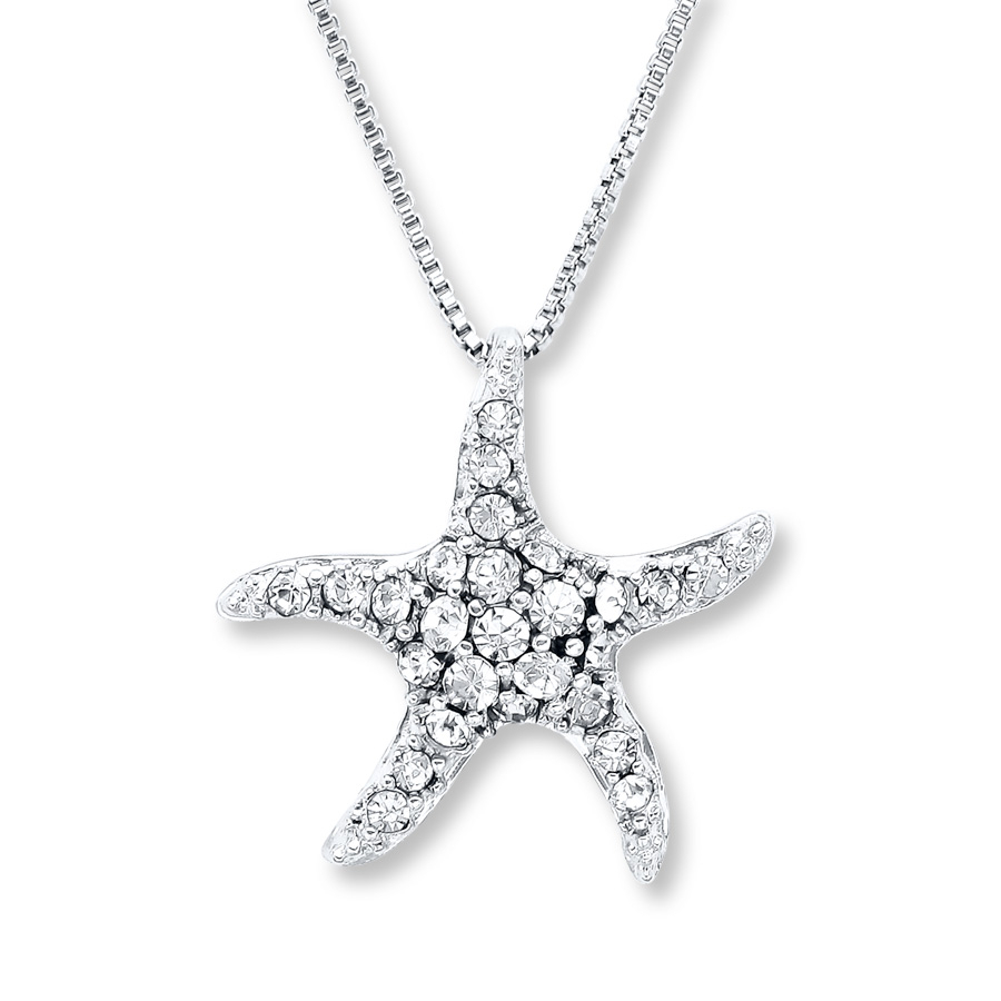Starfish Necklace White Crystals Sterling Silver – 374232407 – Jared With Newest Pavé Star Locket Element Necklaces (View 3 of 25)
