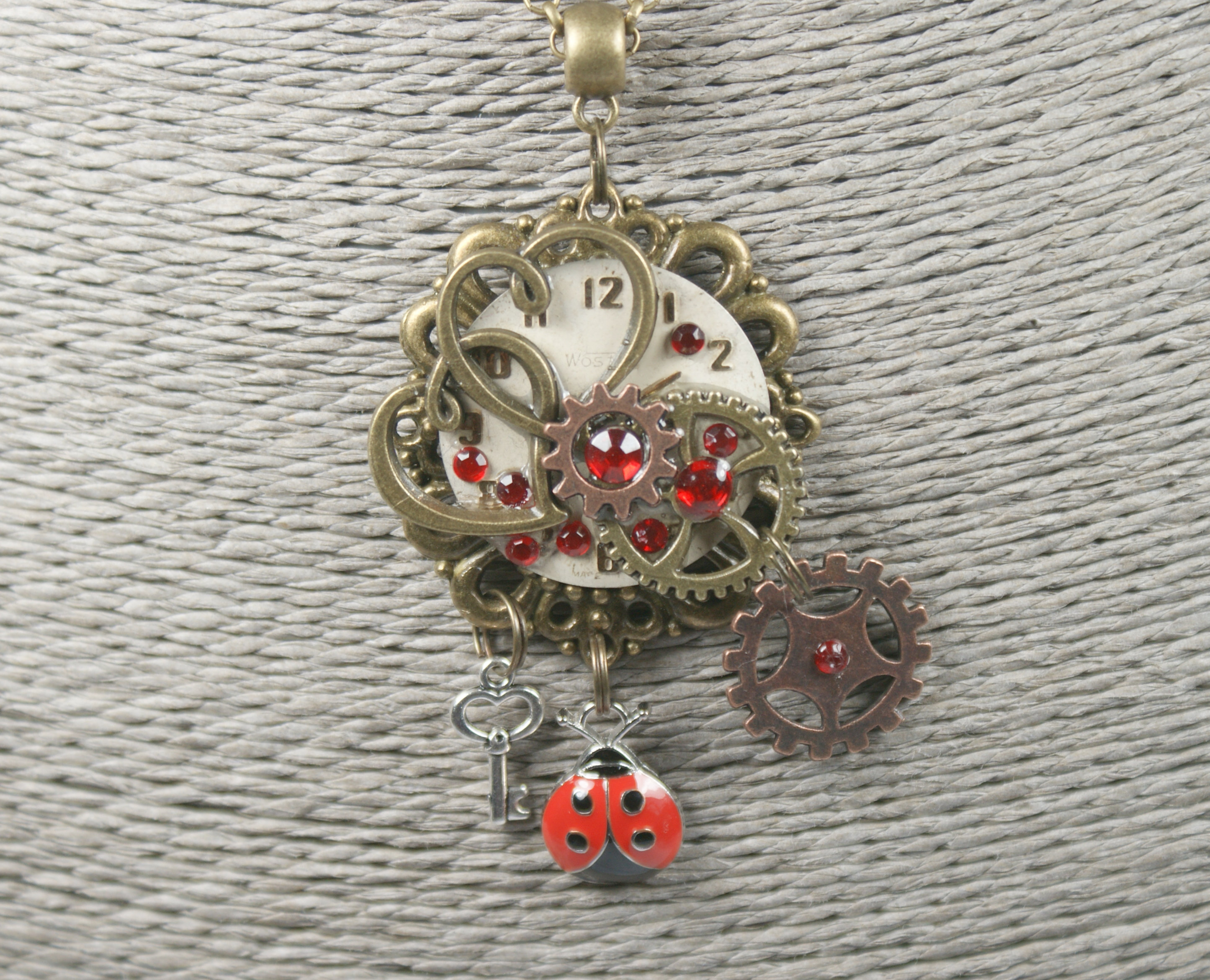 Steampunk Ladybird Necklace, Watch Part Pendant, Gift For Her Within Newest Purple Ladybird Locket Element Necklaces (Gallery 19 of 25)