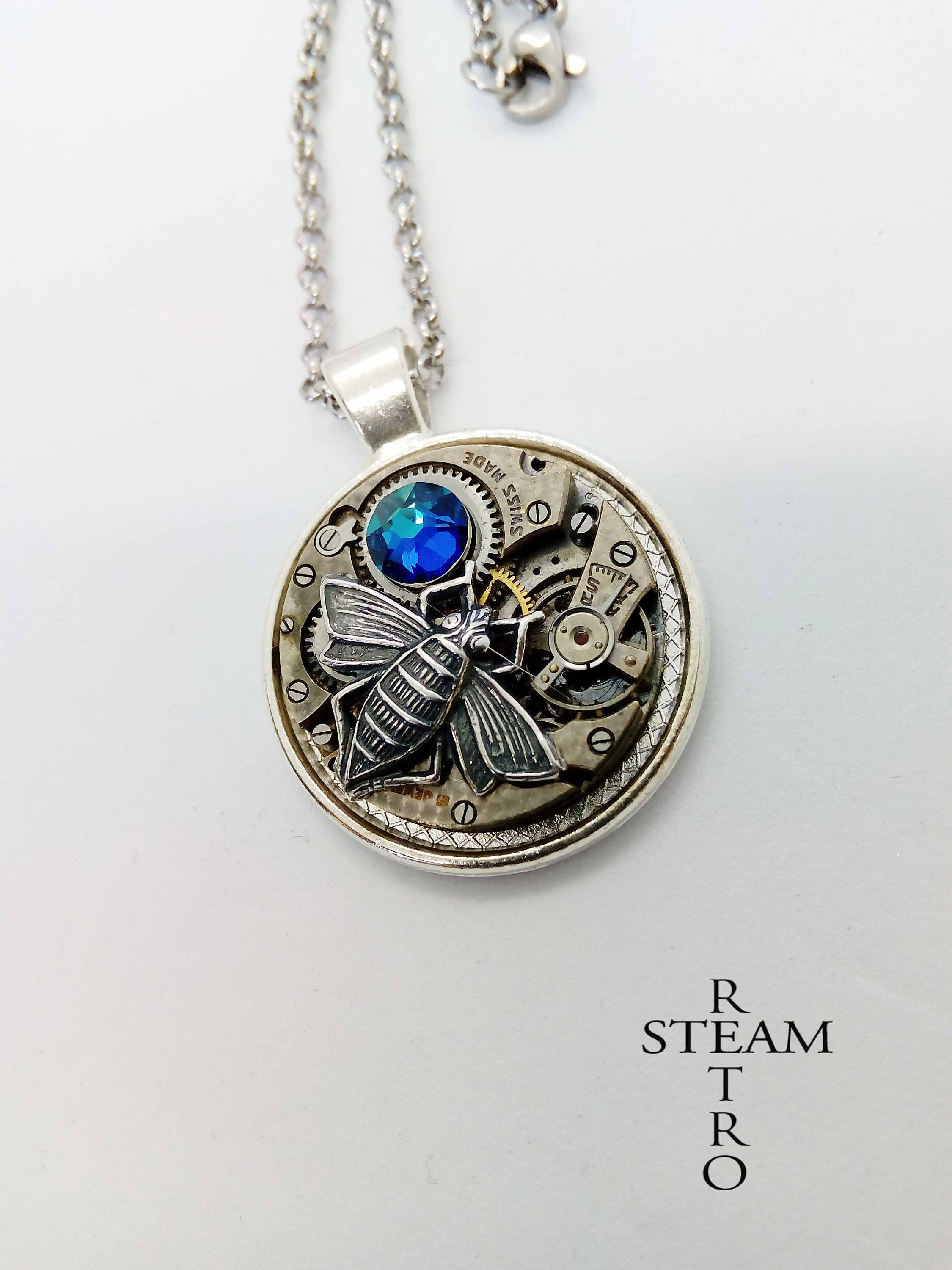Steampunk – Necklace – Steampunk Necklace – Bee Necklace – Steampunk  Jewellery – Blue Necklace – Watch Movement Necklace – Womens Necklace In Most Current Bee Locket Element Necklaces (Gallery 17 of 25)