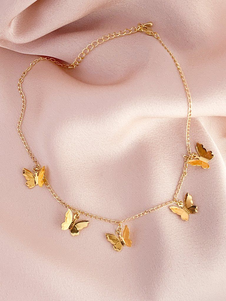 Stella Gold Butterfly Choker | Pendant Necklaces In 2019 | Jewelry Regarding Most Current Pink Butterfly Locket Element Necklaces (View 24 of 25)