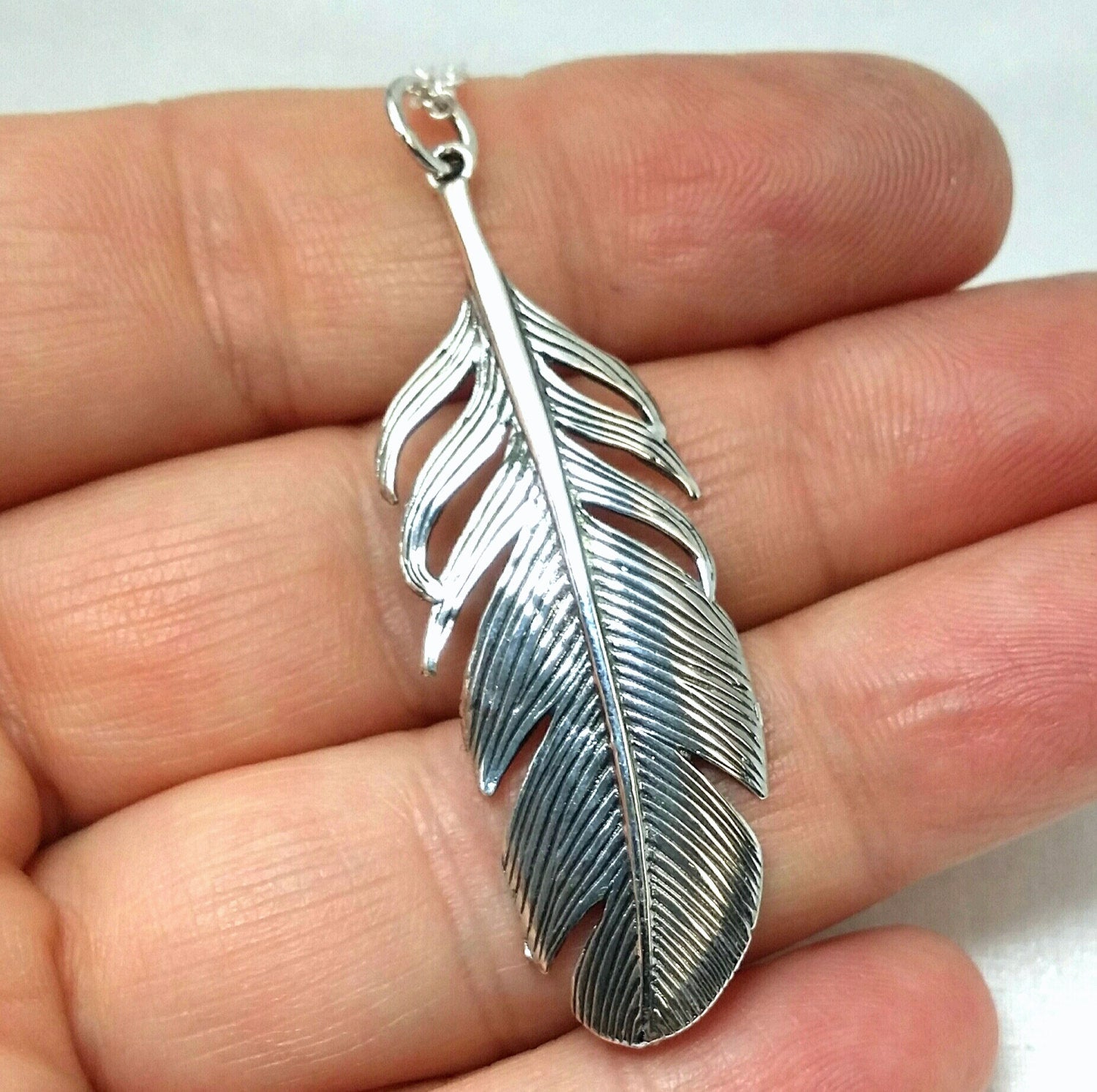 Sterling Feather Necklace – Large Single Feather Spirit Pendant – Sterling Silver 925 Feather – Tribal Necklace – Eagle Feather Necklace Throughout Newest Single Feather Pendant Necklaces (View 15 of 25)