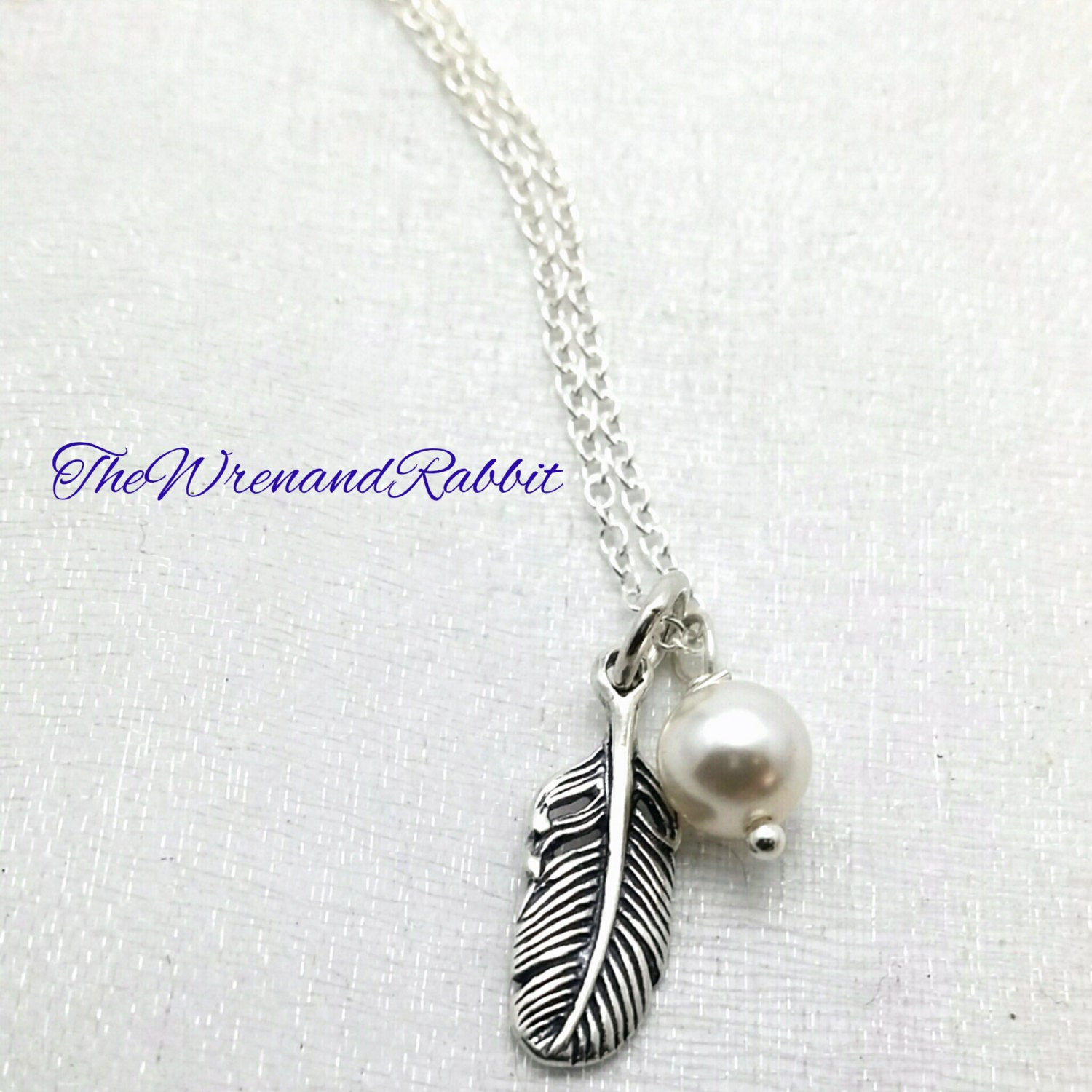 Sterling Feather Necklace – Single Feather Pendant – Sterling Silver Feather – Swarovski Pearl – Tribal Necklace – Individuality Necklace Inside Latest Single Feather Pendant Necklaces (View 12 of 25)