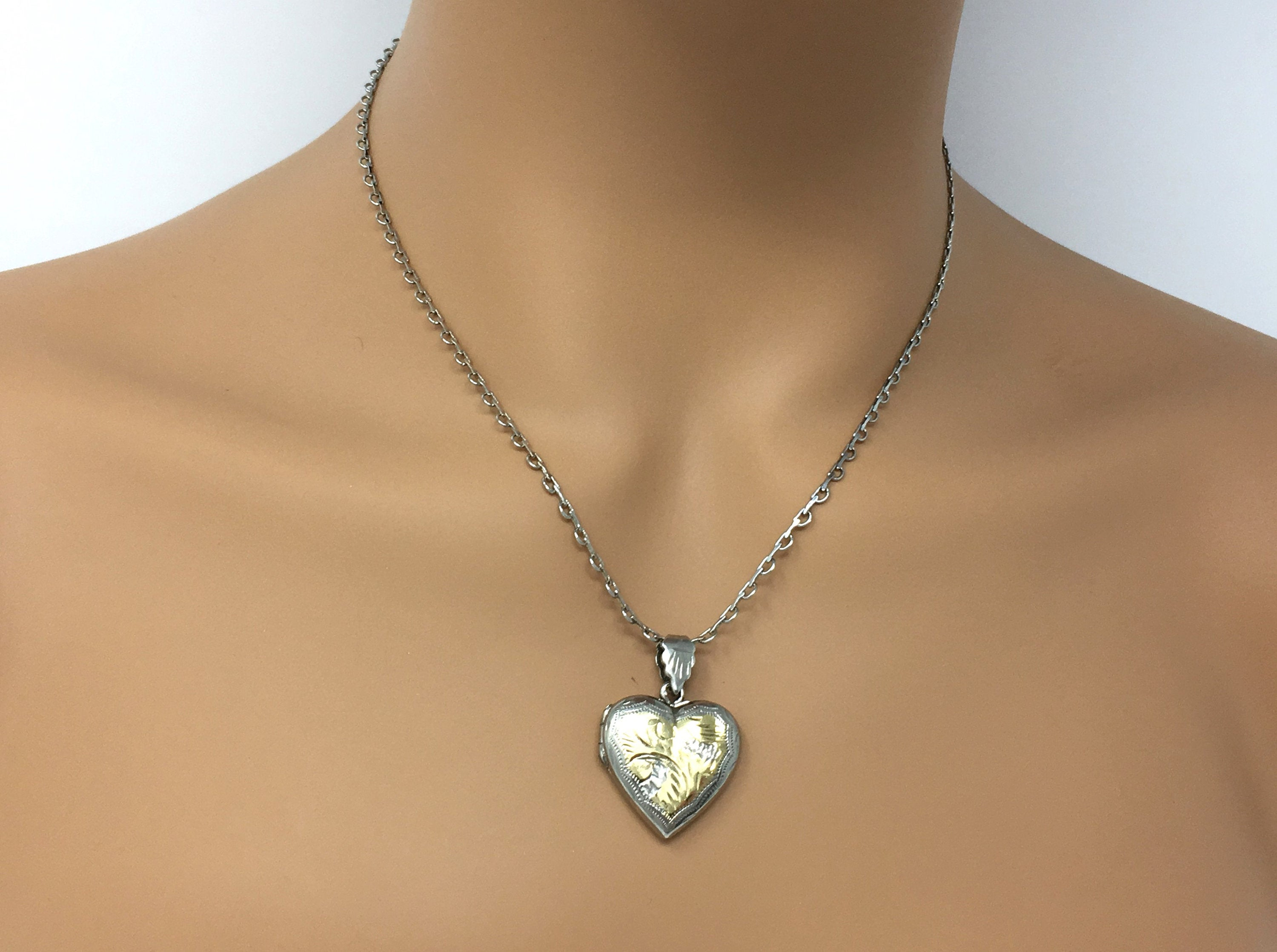 Sterling Puffy Heart Locket Necklace, Etched And Engraved Keepsake Jewelry, Vintage Locket Necklace For Her, Gift For Mom, Girlfriend Gift In Current Heart Locket Plate Necklaces (View 12 of 25)