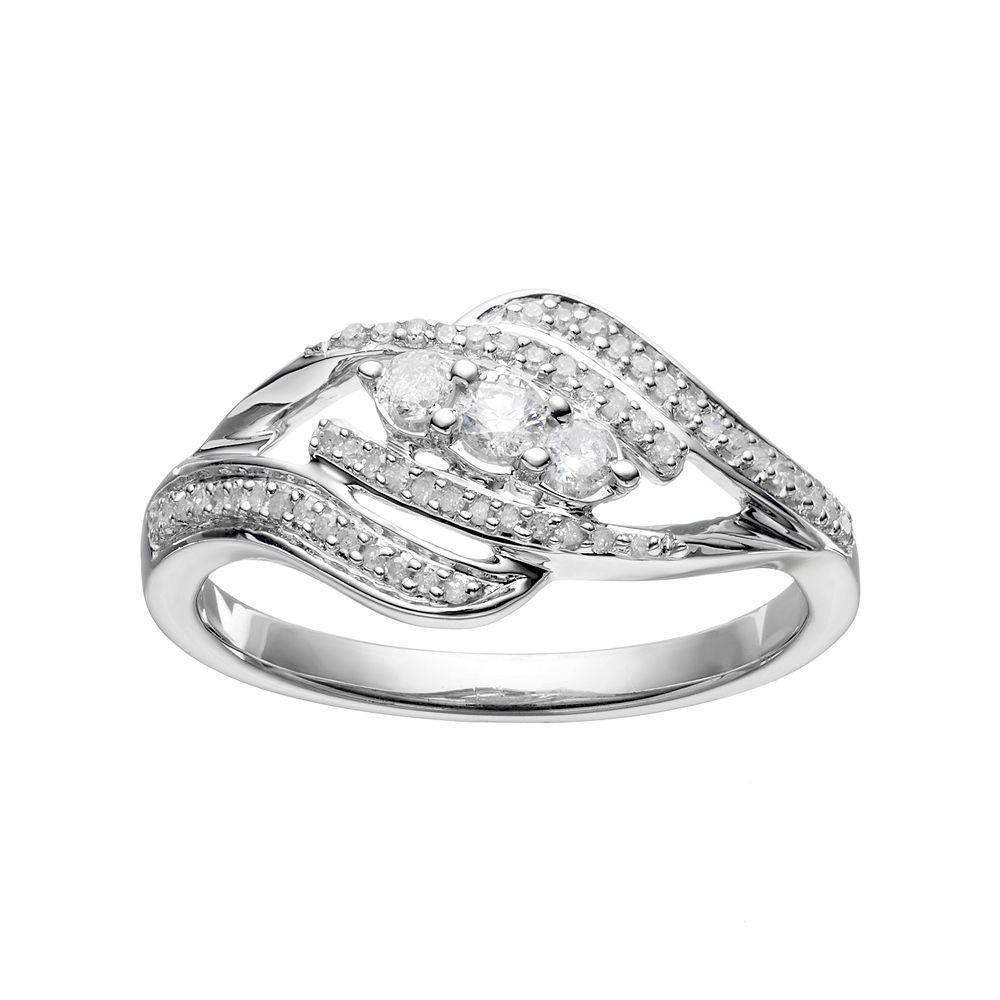 Sterling Silver 1/4 Carat T.w. Diamond 3 Stone Bypass Ring Intended For Latest Diamond Seven Stone Bypass Anniversary Bands In Sterling Silver (Gallery 21 of 25)