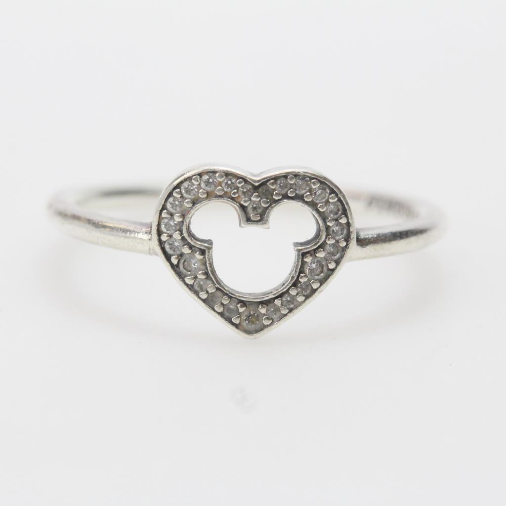 Sterling Silver 1.71G Heart Shaped Pandora Ring With Clear Stones Intended For 2017 Heart Shaped Pandora Logo Rings (Gallery 18 of 25)