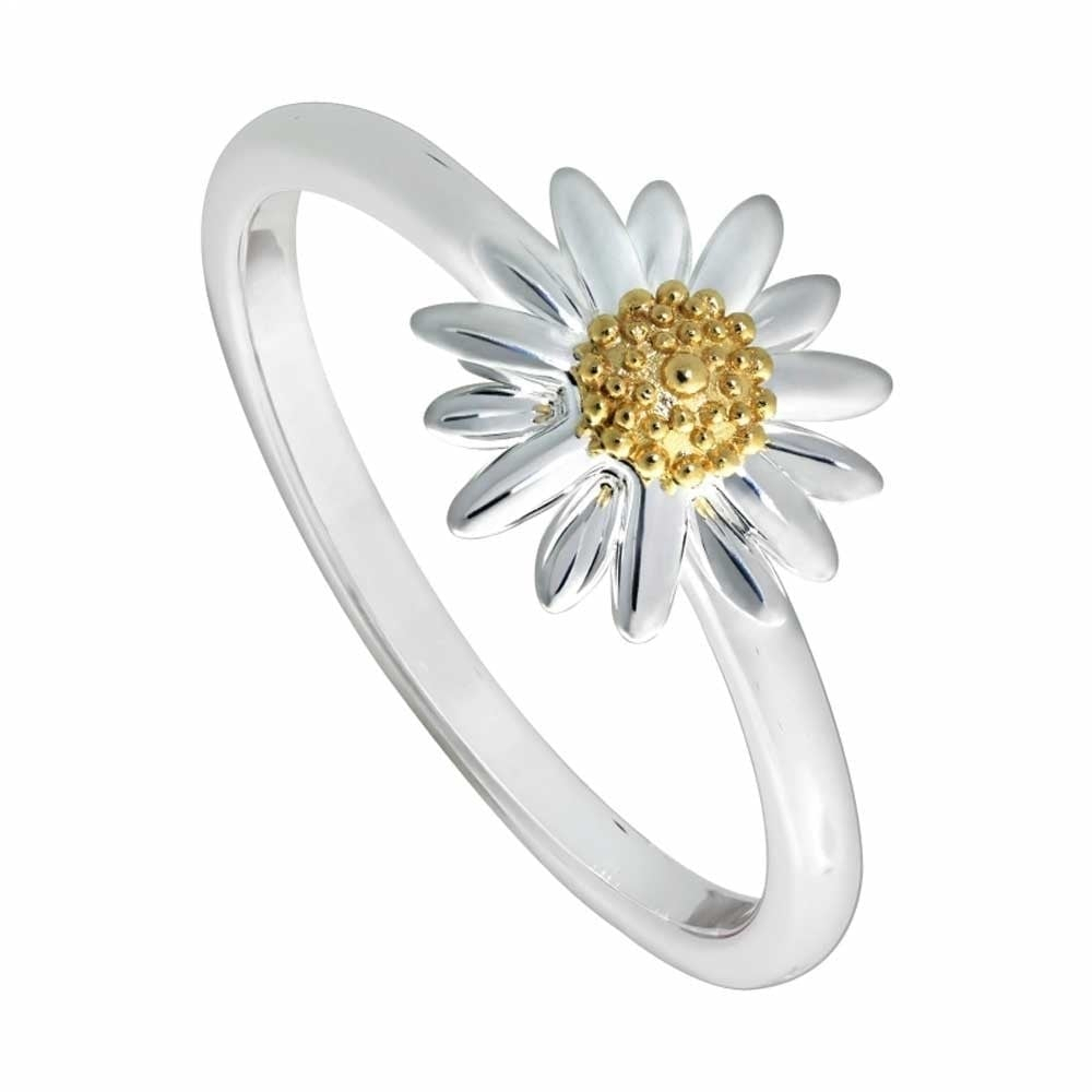 Sterling Silver & 18Ct Gold Plated Classic Daisy Ring Intended For Most Current Classic Daisy Flower Band Rings (View 20 of 25)