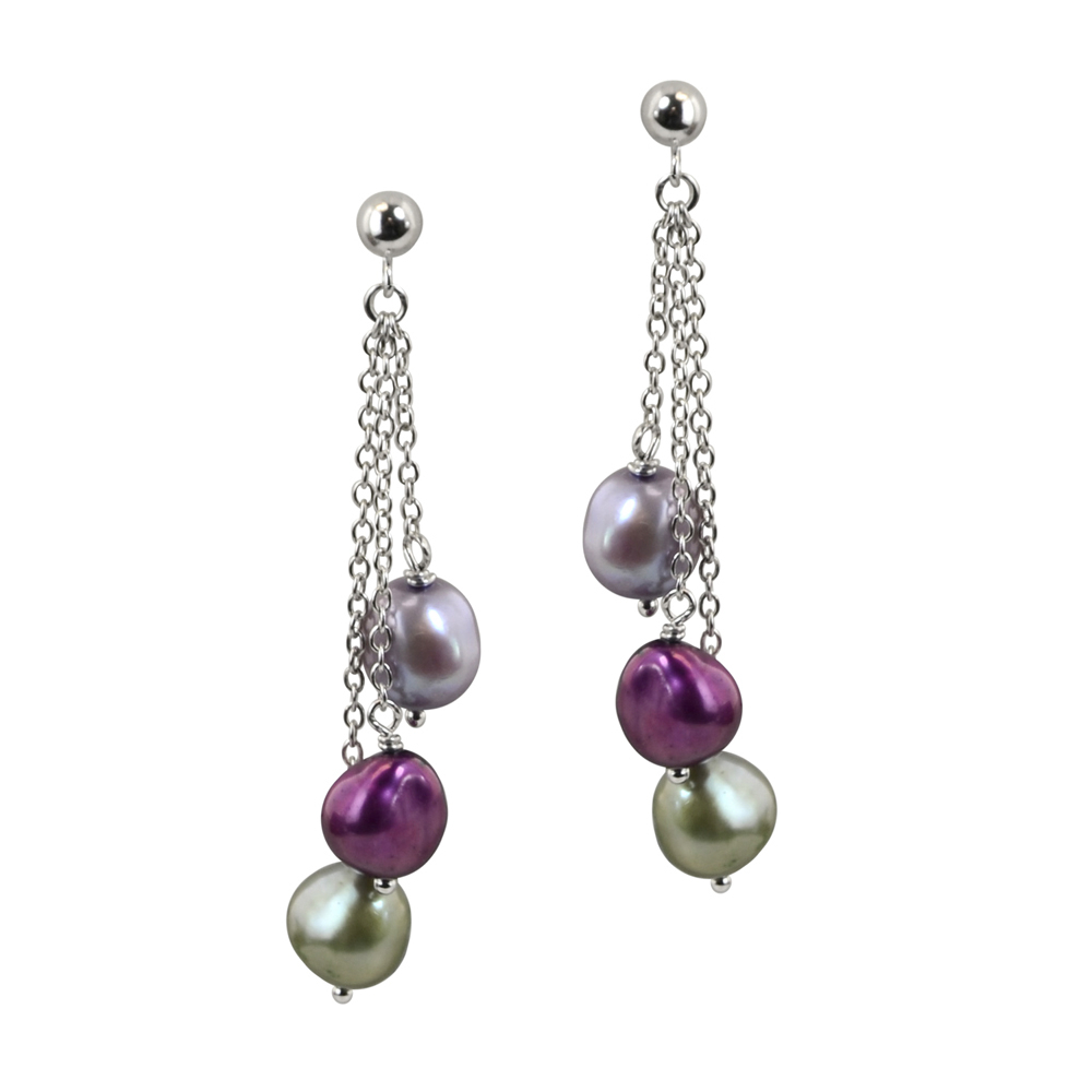 Sterling Silver 8 9Mm Grapevine Baroque Freshwater Cultured Pearl Within Most Current Dangling Freshwater Cultured Pearl Rings (View 21 of 25)
