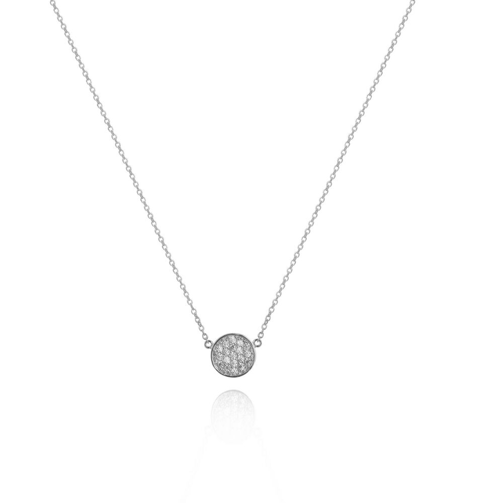 Sterling Silver (925) Cubic Zirconia Crystal Cz Pave Circle Necklace Intended For Recent Pavé Locket Element Necklaces (View 23 of 25)