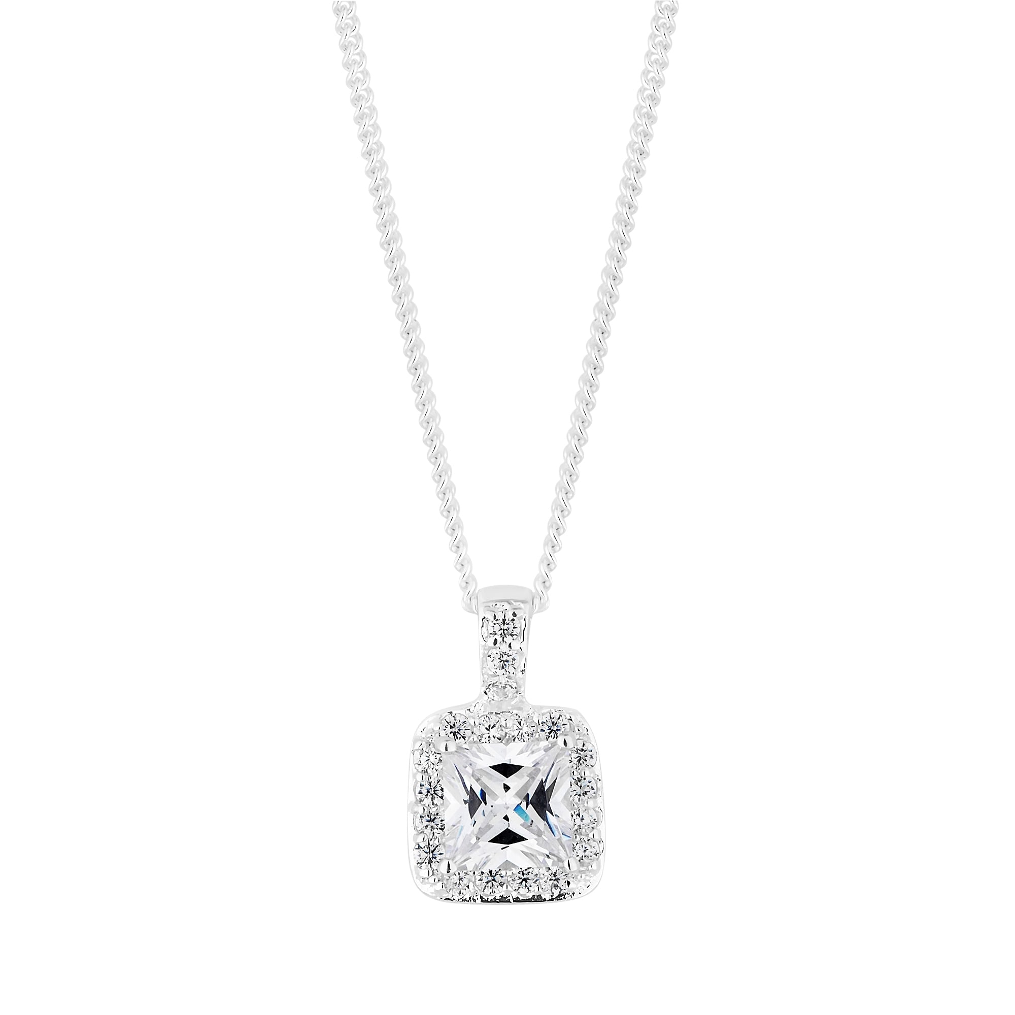 Sterling Silver 925 Cubic Zirconia Square Shaped Halo Pendant Necklace Pertaining To Current Sparkling Square Halo Pendant Necklaces (Gallery 1 of 25)